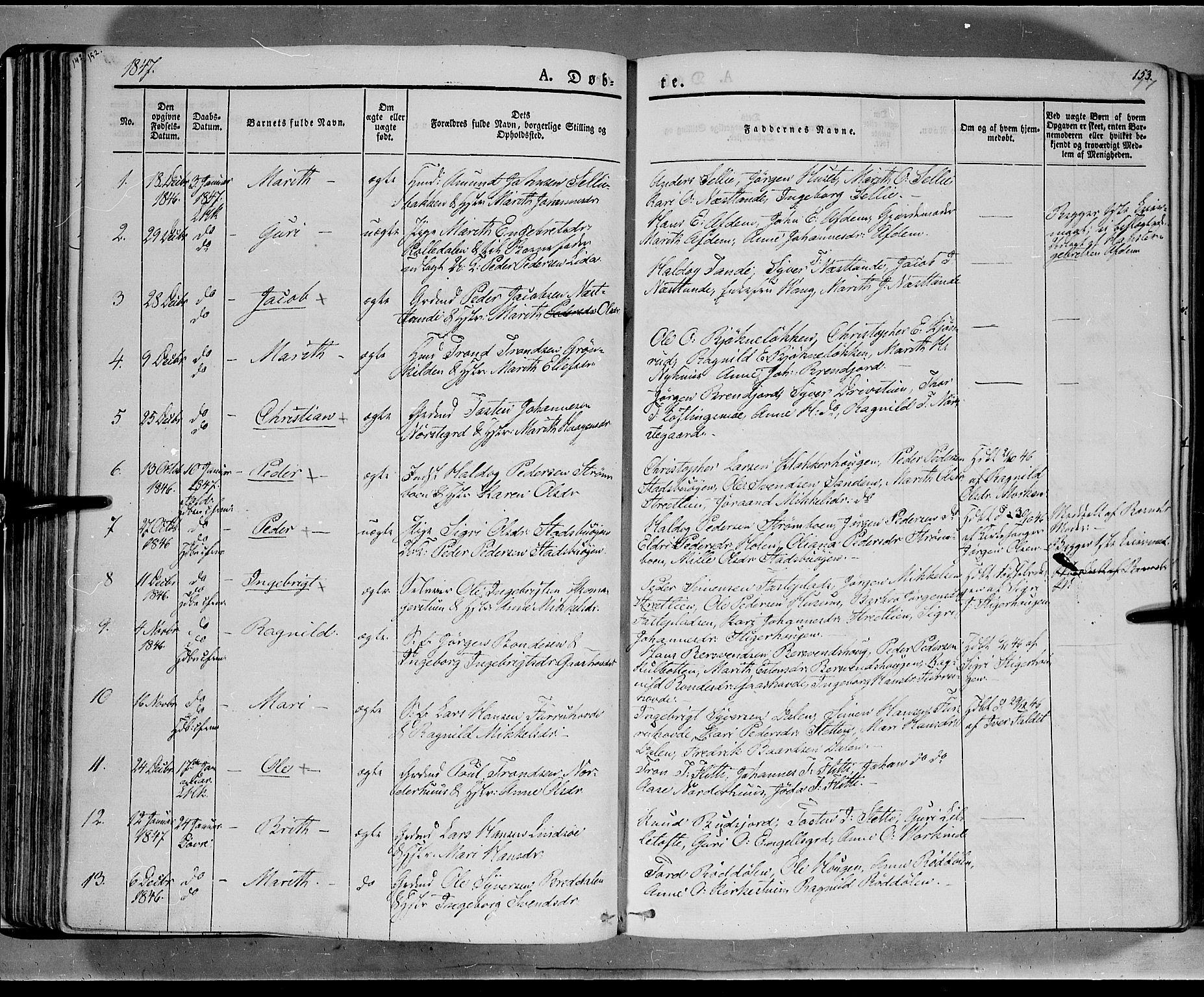 SAH, Lesja prestekontor, Ministerialbok nr. 6A, 1843-1854, s. 152-153