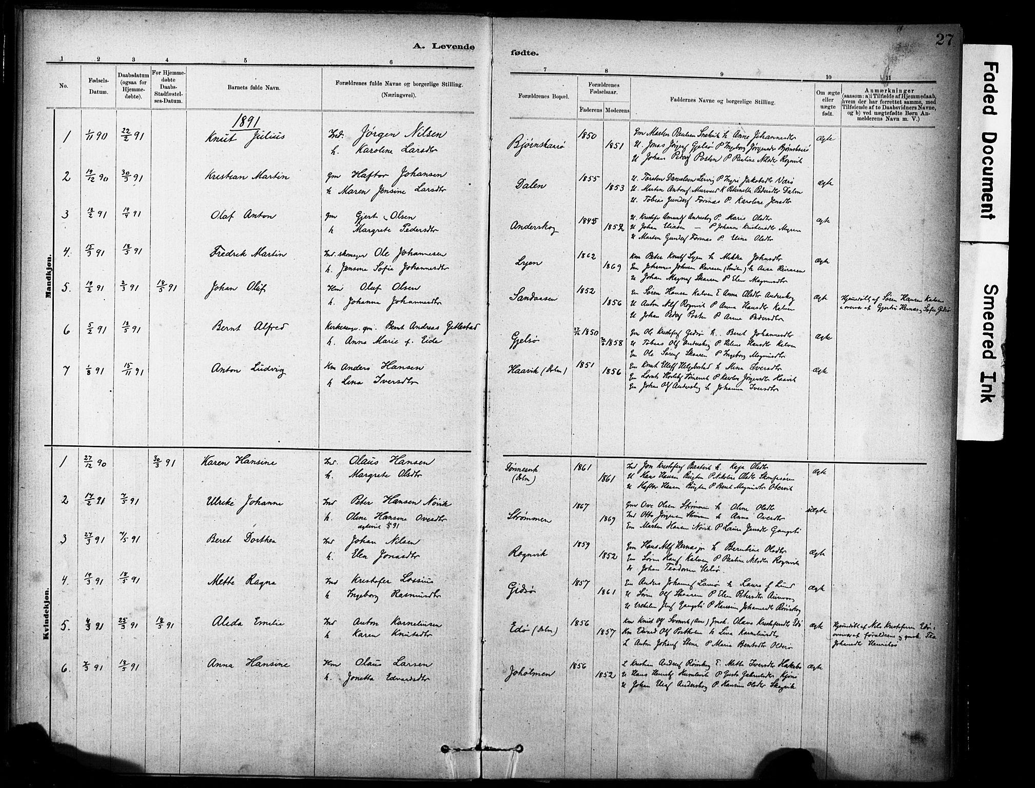 SAT, Ministerialprotokoller, klokkerbøker og fødselsregistre - Sør-Trøndelag, 635/L0551: Ministerialbok nr. 635A01, 1882-1899, s. 27