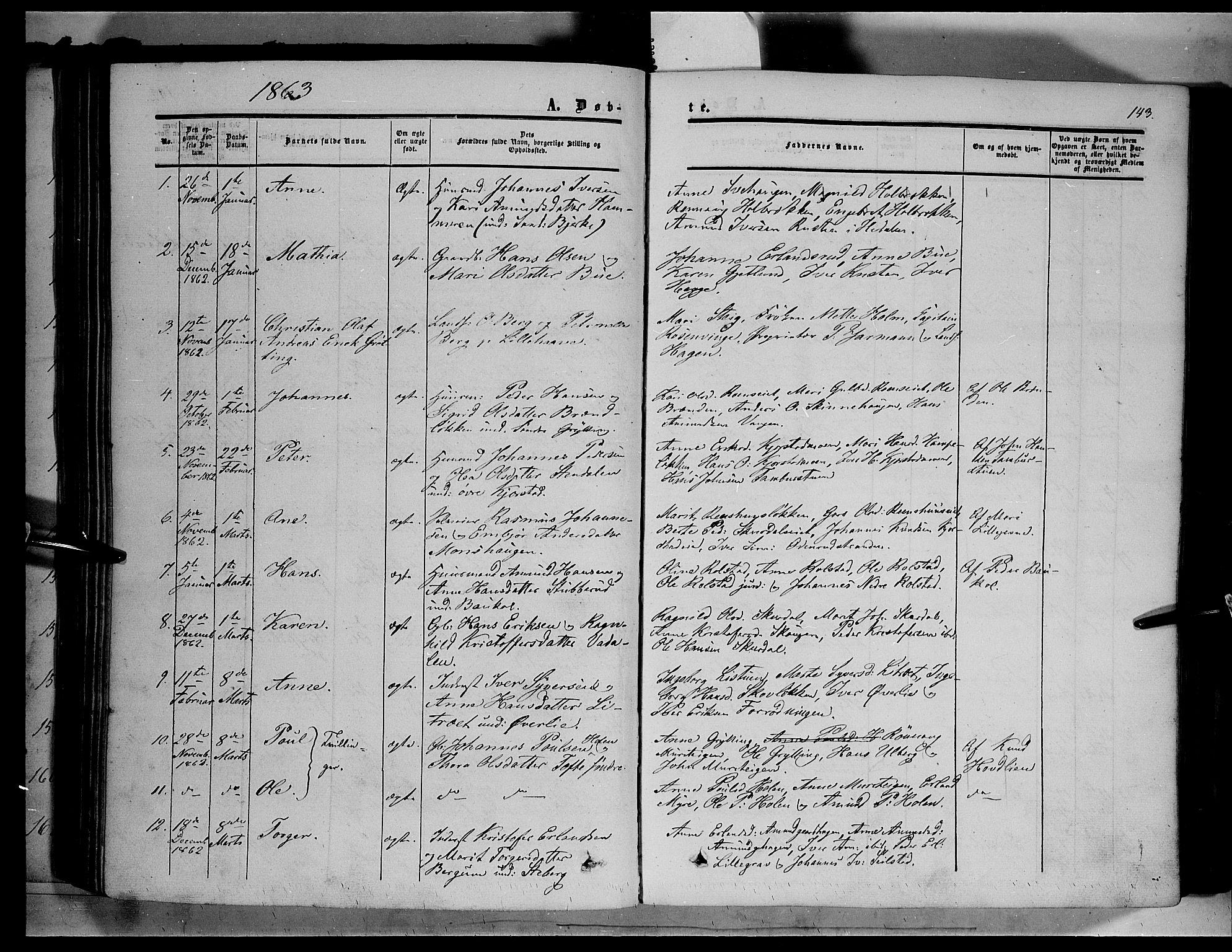SAH, Sør-Fron prestekontor, H/Ha/Haa/L0001: Ministerialbok nr. 1, 1849-1863, s. 143