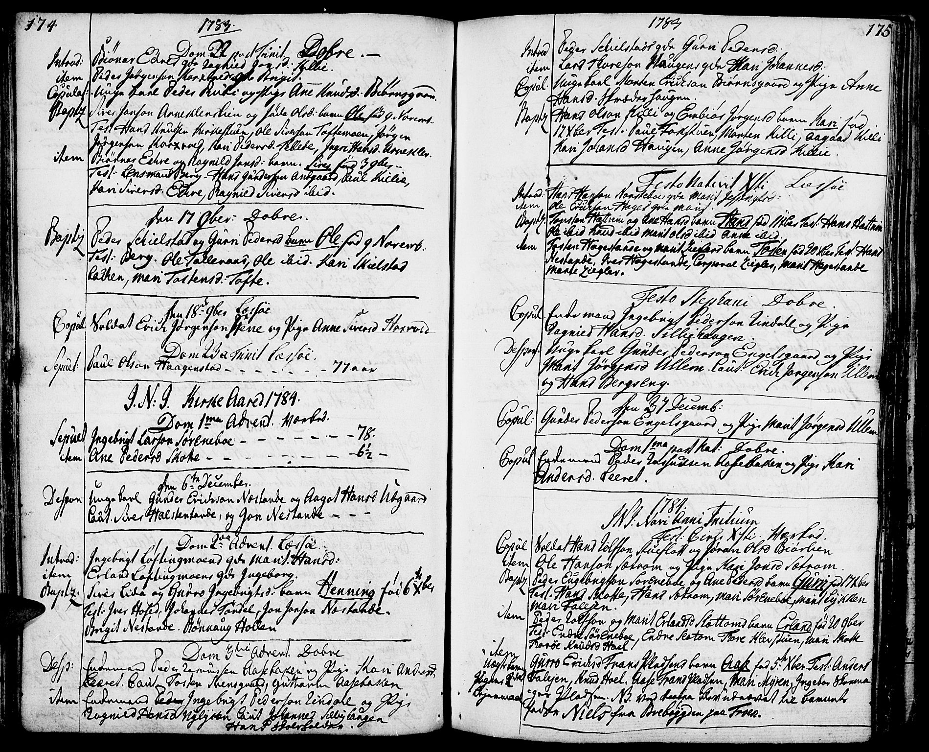 SAH, Lesja prestekontor, Ministerialbok nr. 3, 1777-1819, s. 174-175