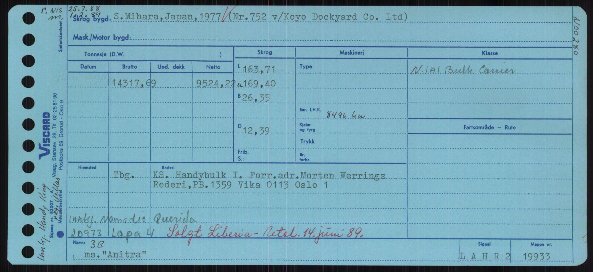RA, Sjøfartsdirektoratet med forløpere, Skipsmålingen, H/Hd/L0001: Fartøy, A-Anv, s. 635