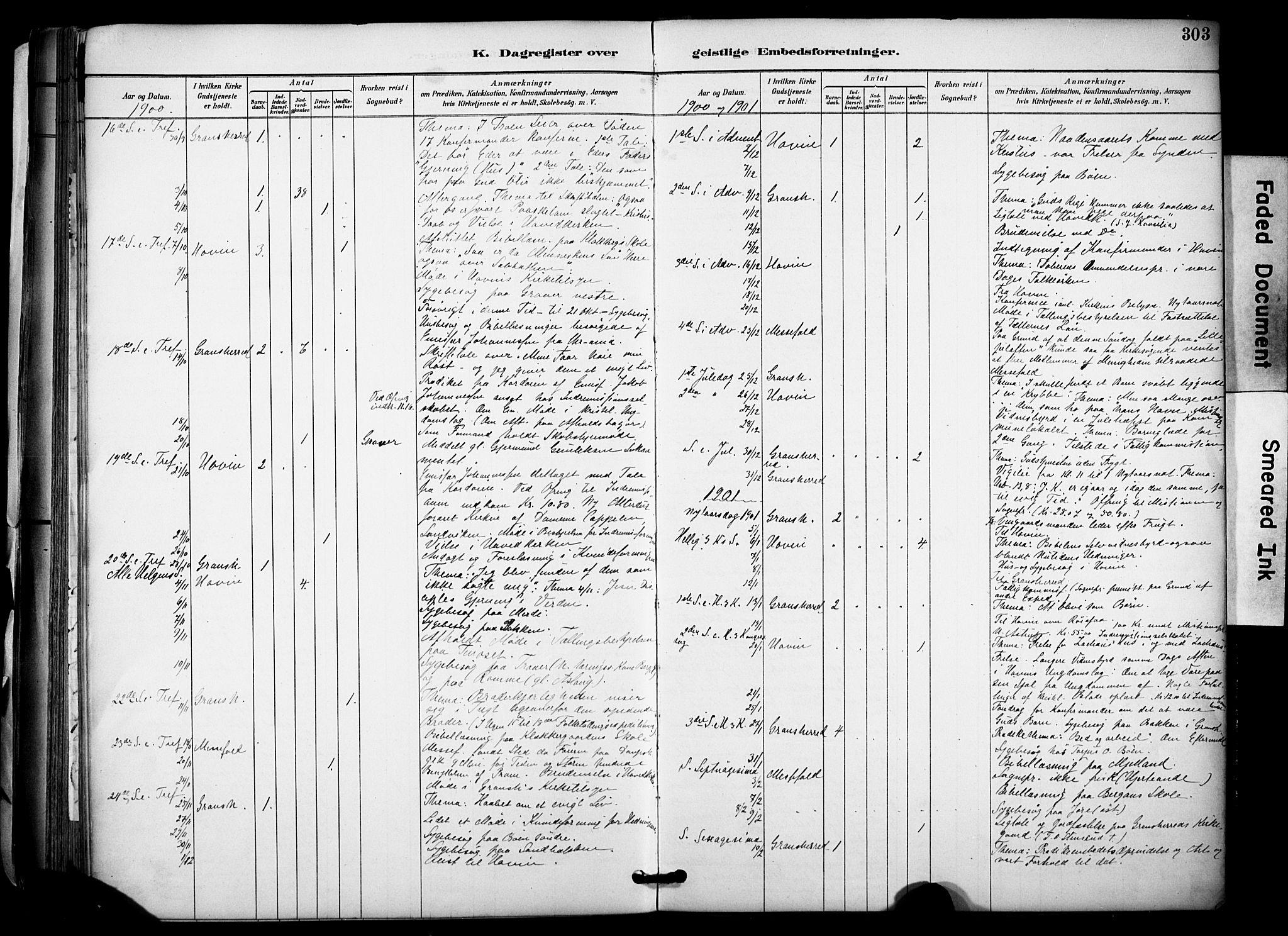 SAKO, Gransherad kirkebøker, F/Fa/L0005: Ministerialbok nr. I 5, 1887-1916, s. 303