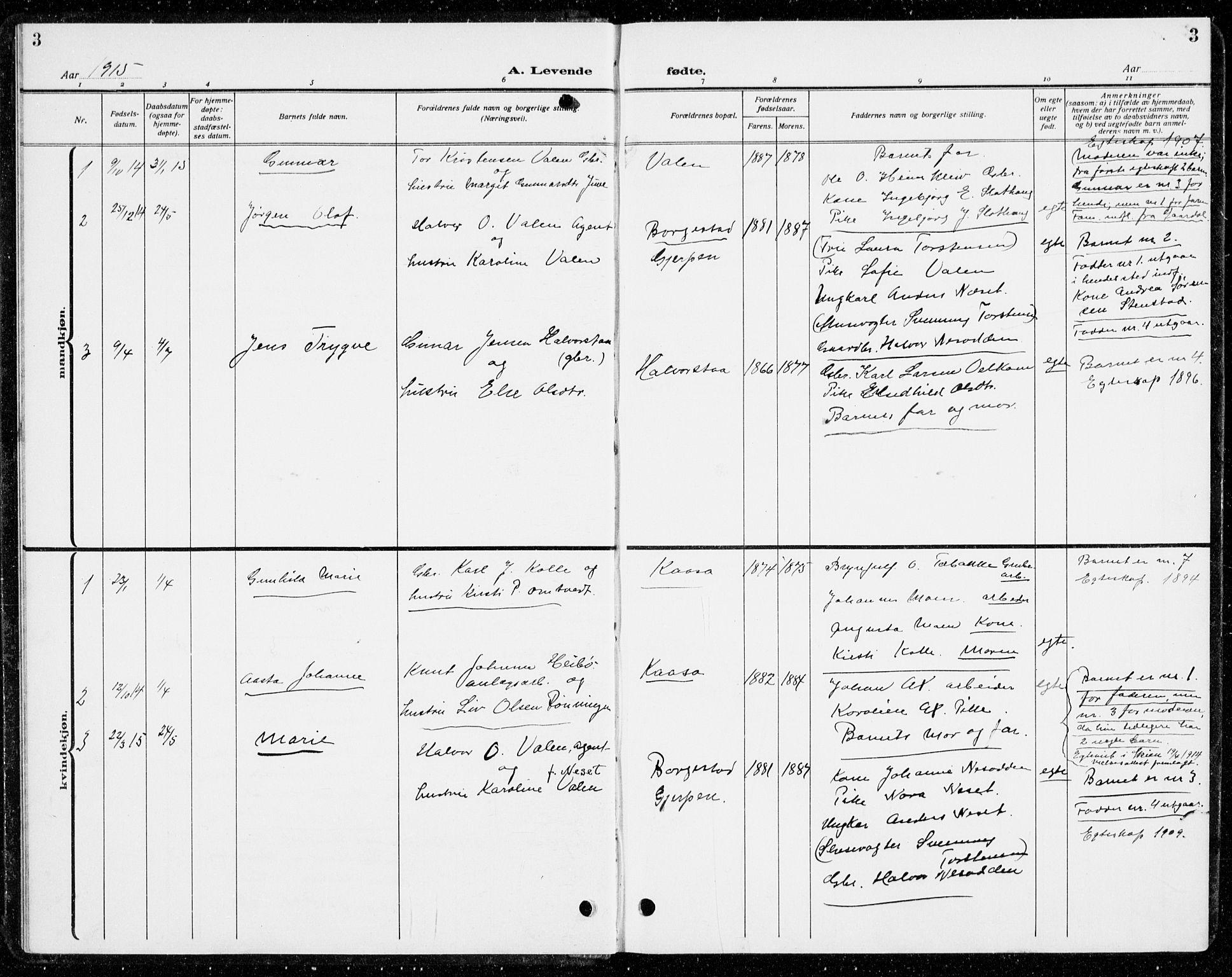 SAKO, Holla kirkebøker, G/Gb/L0003: Klokkerbok nr. II 3, 1914-1941, s. 3