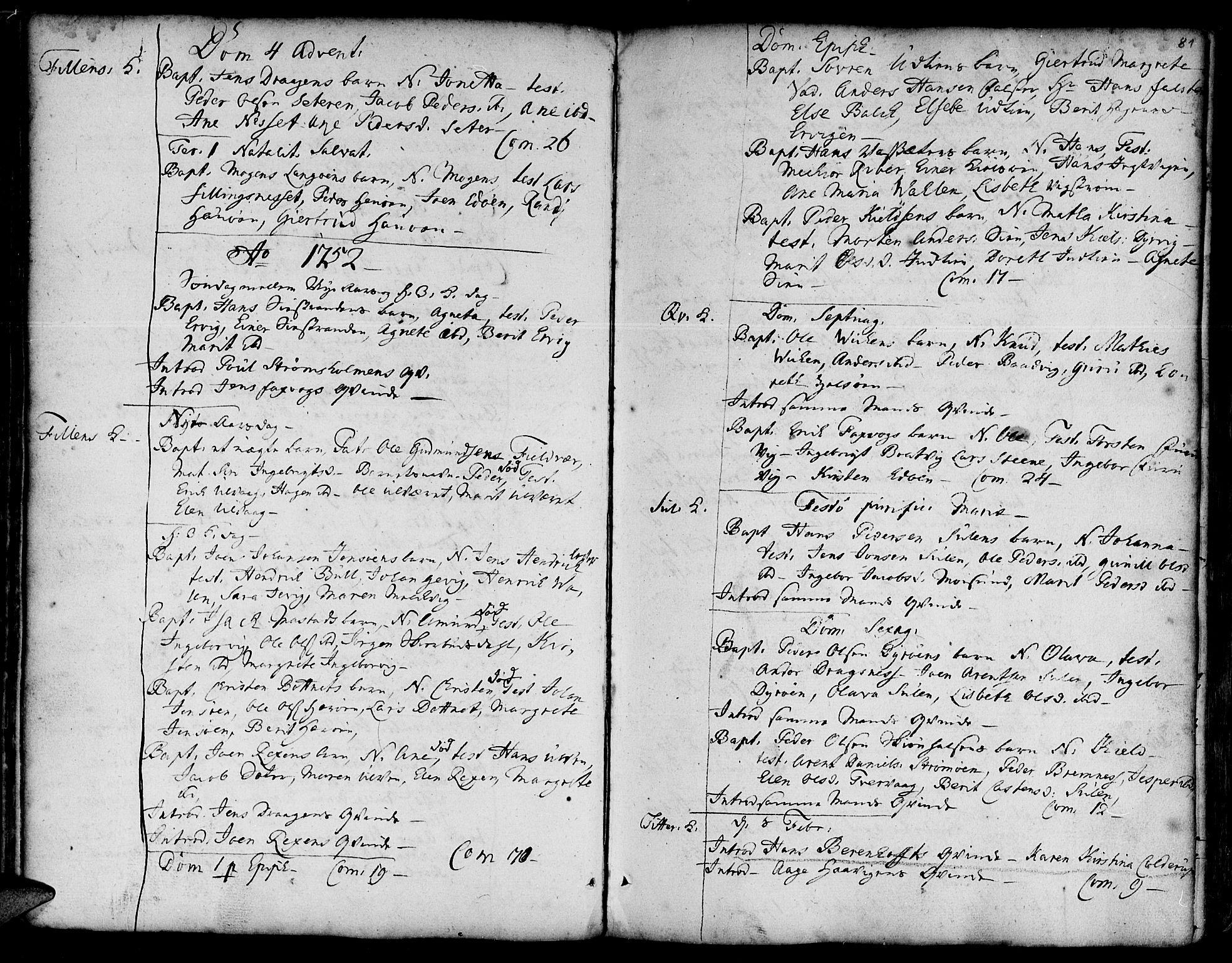 SAT, Ministerialprotokoller, klokkerbøker og fødselsregistre - Sør-Trøndelag, 634/L0525: Ministerialbok nr. 634A01, 1736-1775, s. 81