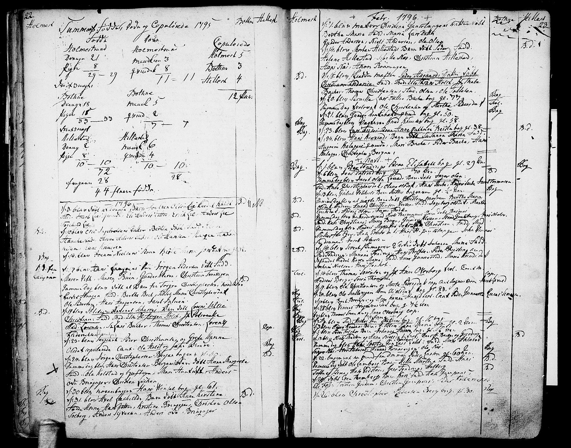 SAKO, Botne kirkebøker, F/Fa/L0003: Ministerialbok nr. I 3 /1, 1792-1844, s. 22-23