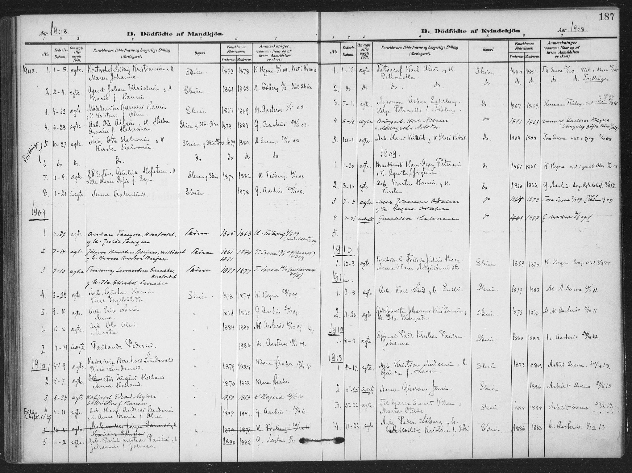 SAKO, Skien kirkebøker, F/Fa/L0012: Ministerialbok nr. 12, 1908-1914, s. 187
