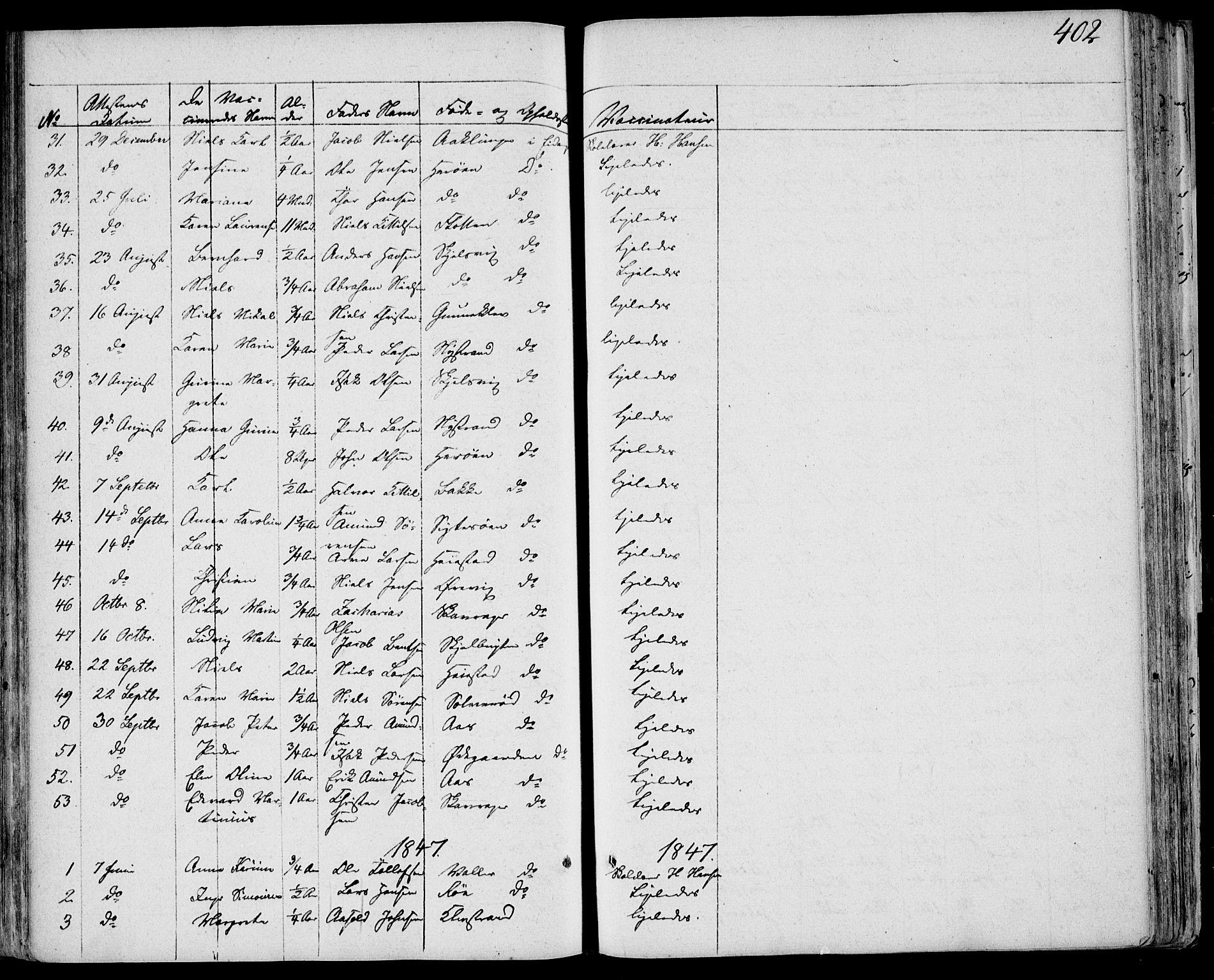SAKO, Eidanger kirkebøker, F/Fa/L0008: Ministerialbok nr. 8, 1831-1858, s. 402