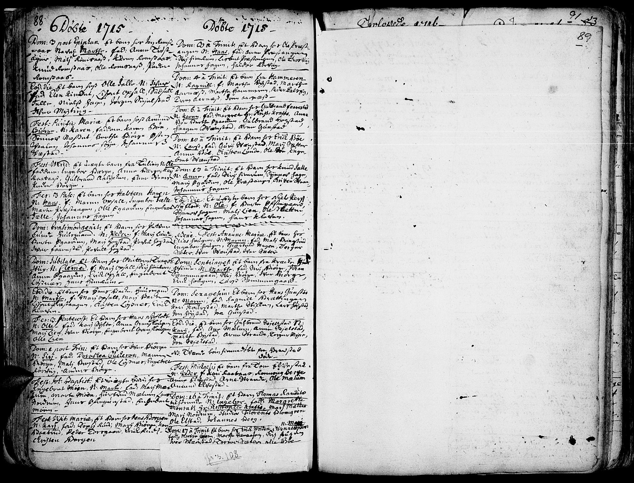 SAH, Ringebu prestekontor, Ministerialbok nr. 1, 1696-1733, s. 88-89