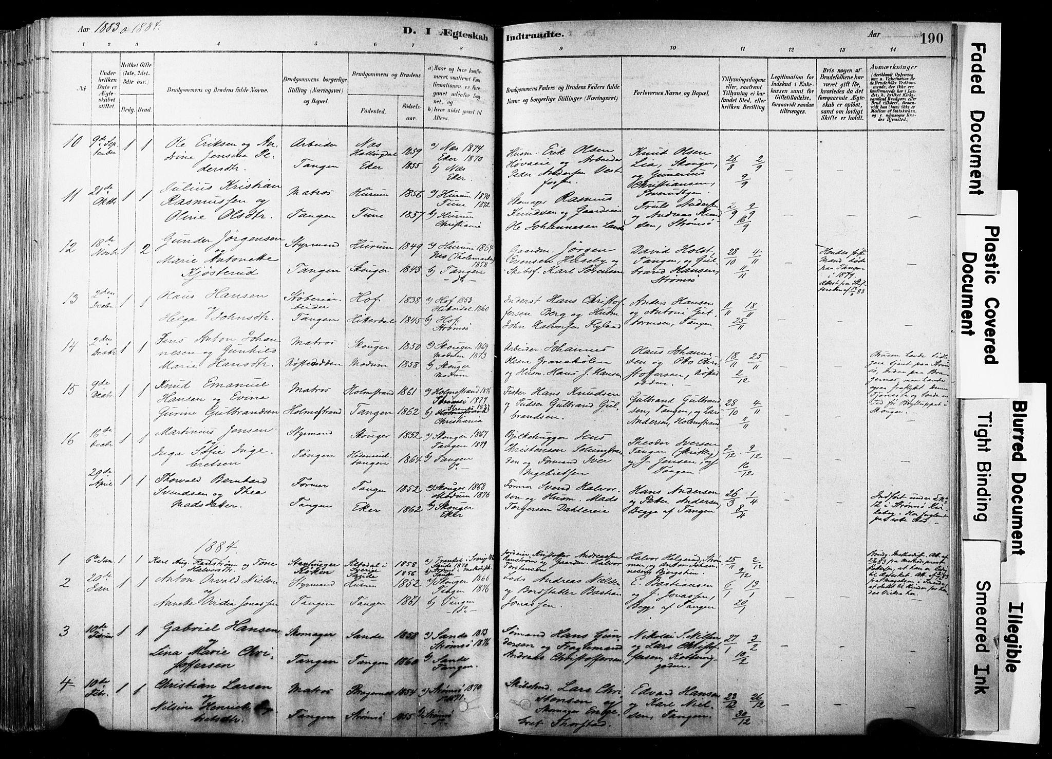 SAKO, Strømsø kirkebøker, F/Fb/L0006: Ministerialbok nr. II 6, 1879-1910, s. 190