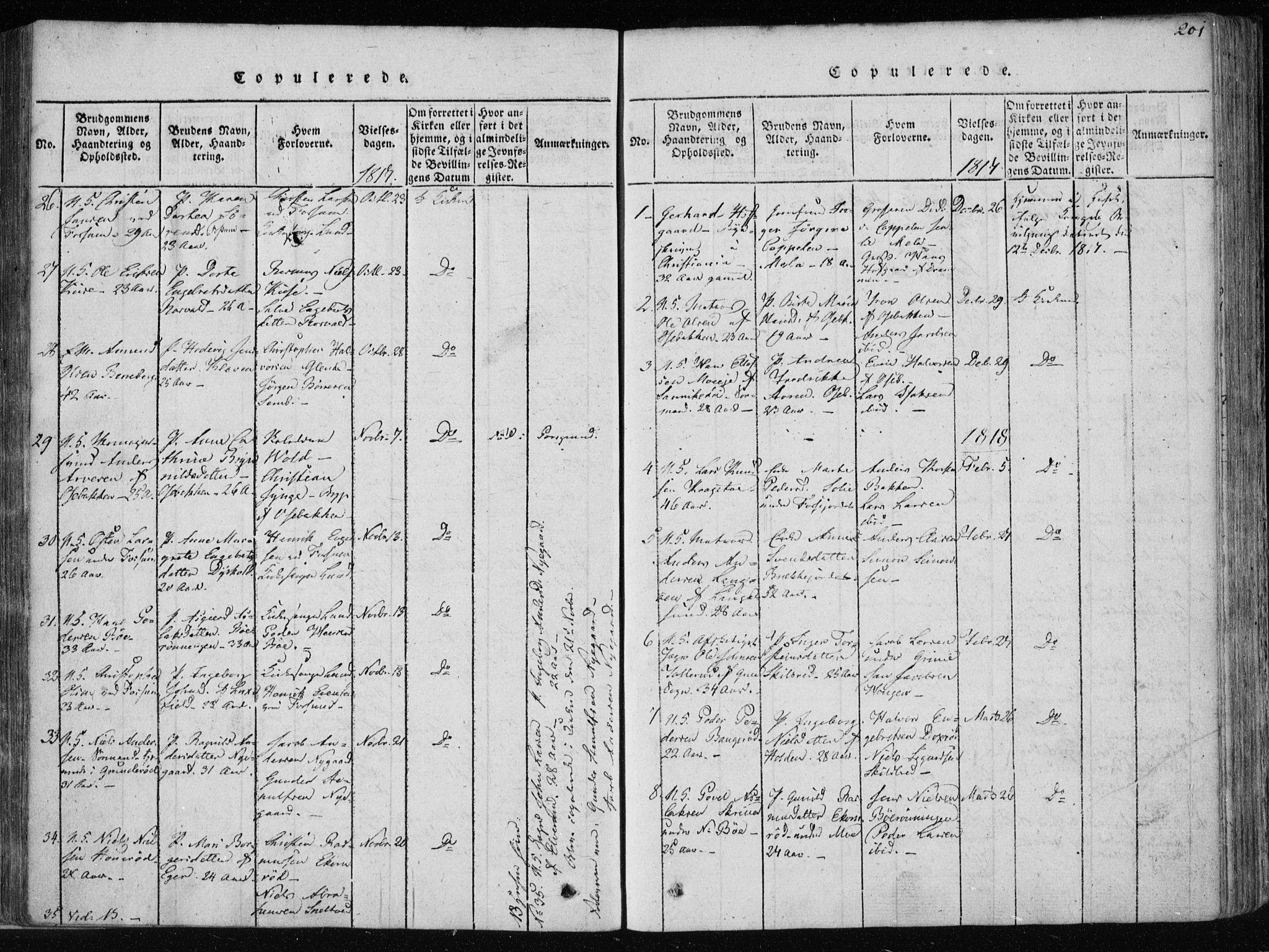 SAKO, Gjerpen kirkebøker, F/Fa/L0004: Ministerialbok nr. 4, 1814-1823, s. 201