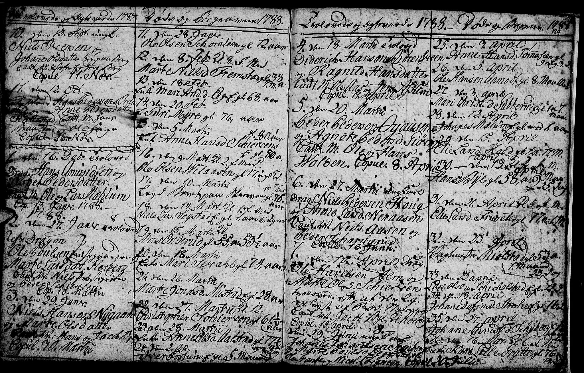 SAH, Vardal prestekontor, H/Ha/Hab/L0001: Klokkerbok nr. 1, 1771-1790, s. 188-189
