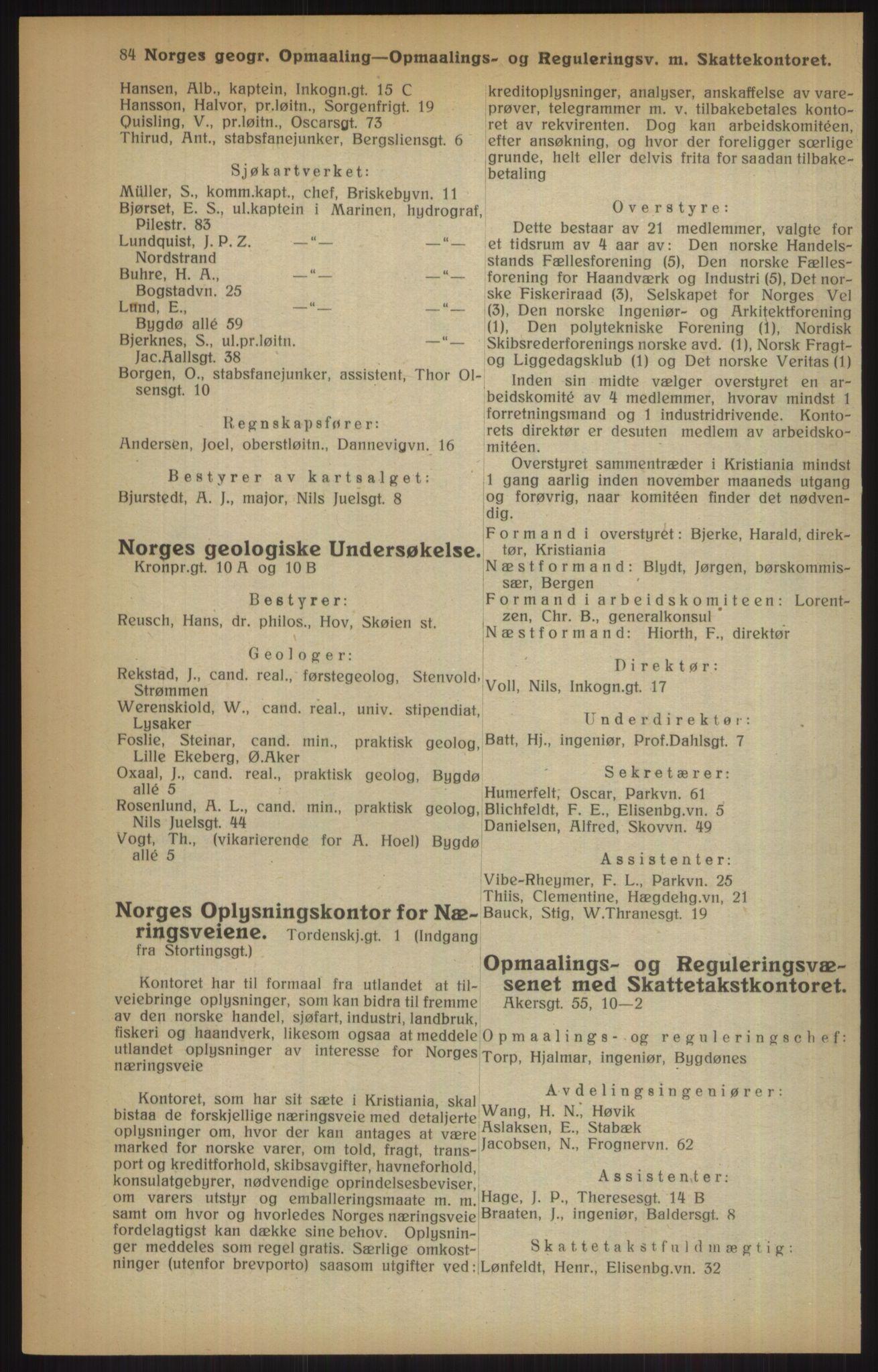 RA, Kristiania adressebok (publikasjon)*, 1915, s. 84