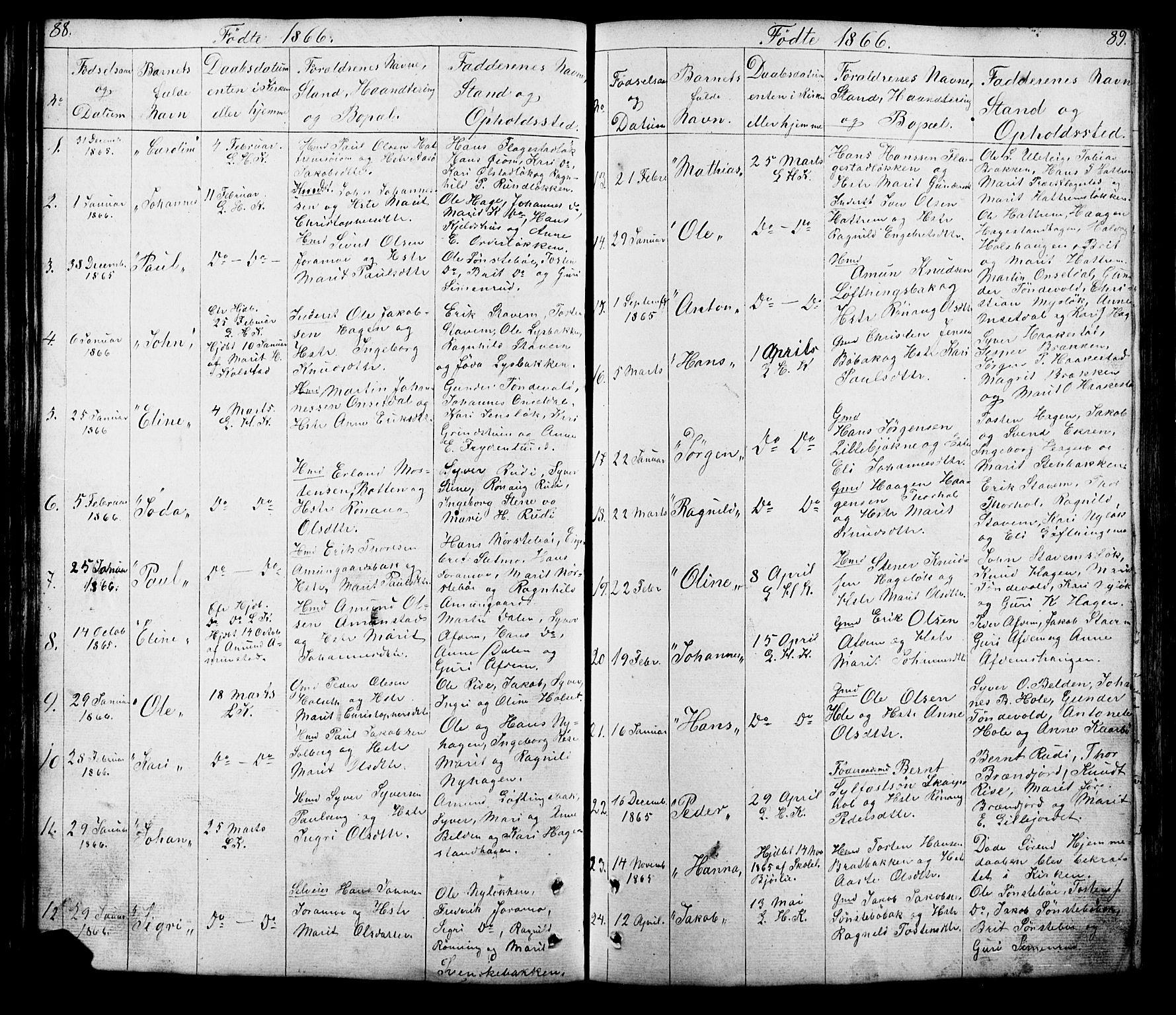 SAH, Lesja prestekontor, Klokkerbok nr. 5, 1850-1894, s. 88-89