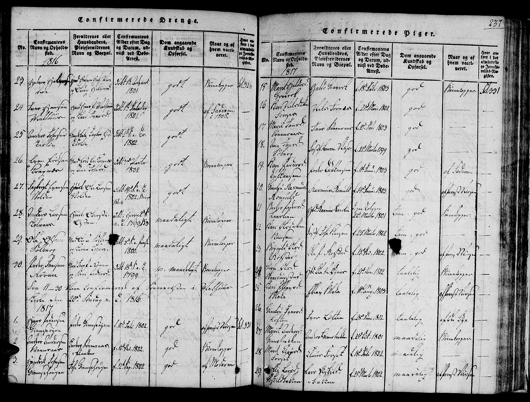 SAT, Ministerialprotokoller, klokkerbøker og fødselsregistre - Sør-Trøndelag, 691/L1065: Ministerialbok nr. 691A03 /1, 1816-1826, s. 237