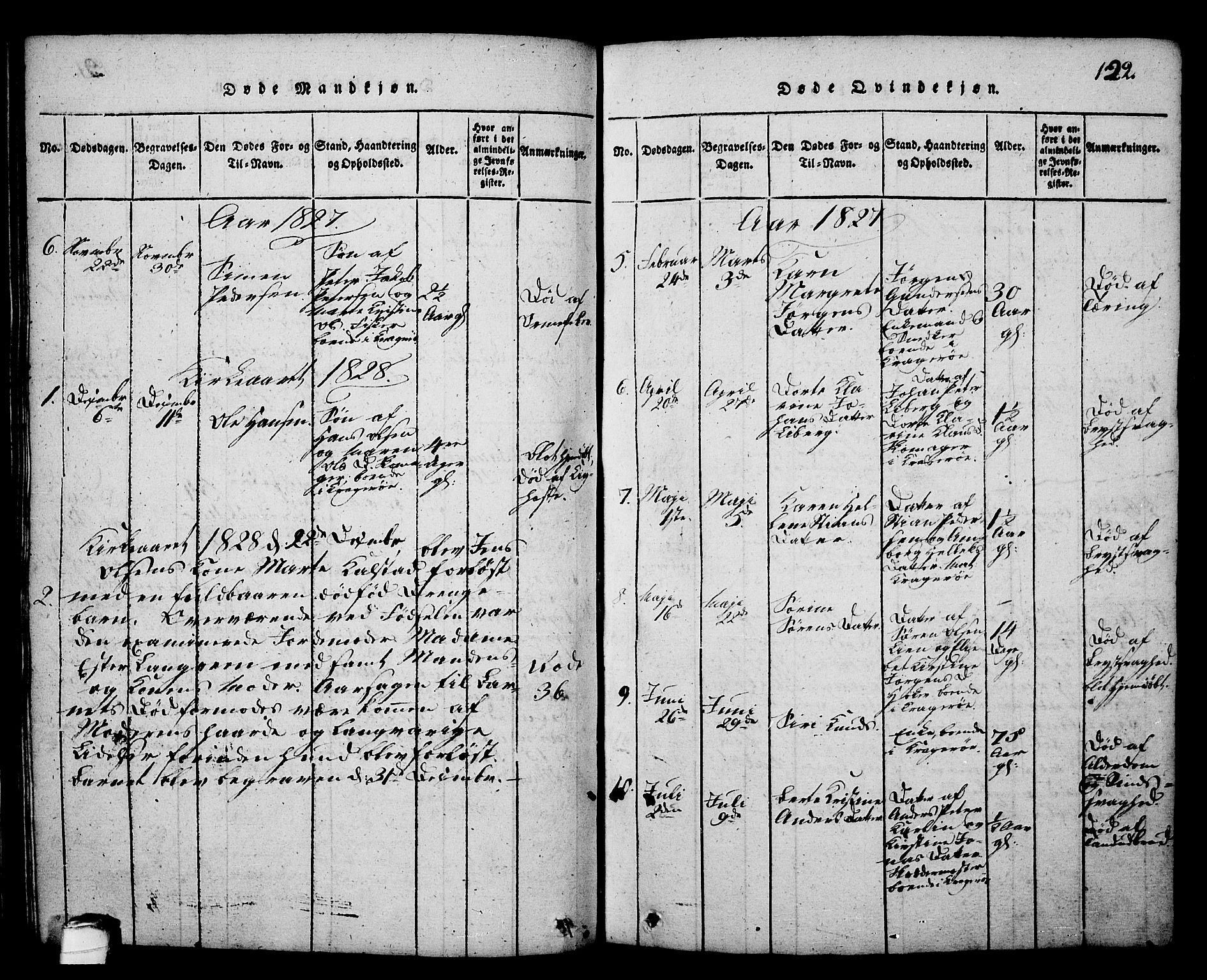 SAKO, Kragerø kirkebøker, G/Ga/L0002: Klokkerbok nr. 2, 1814-1831, s. 122