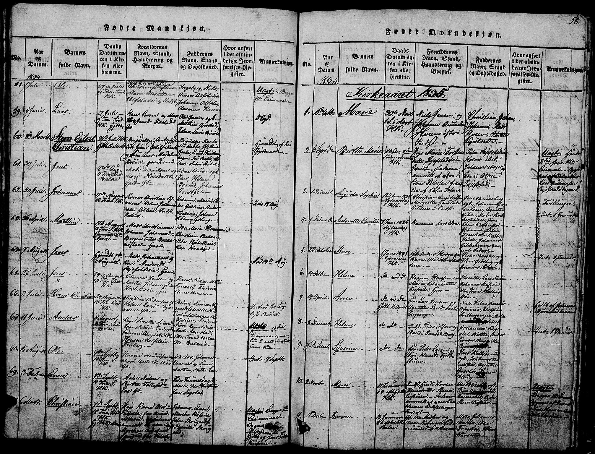 SAH, Østre Toten prestekontor, Klokkerbok nr. 1, 1827-1839, s. 58