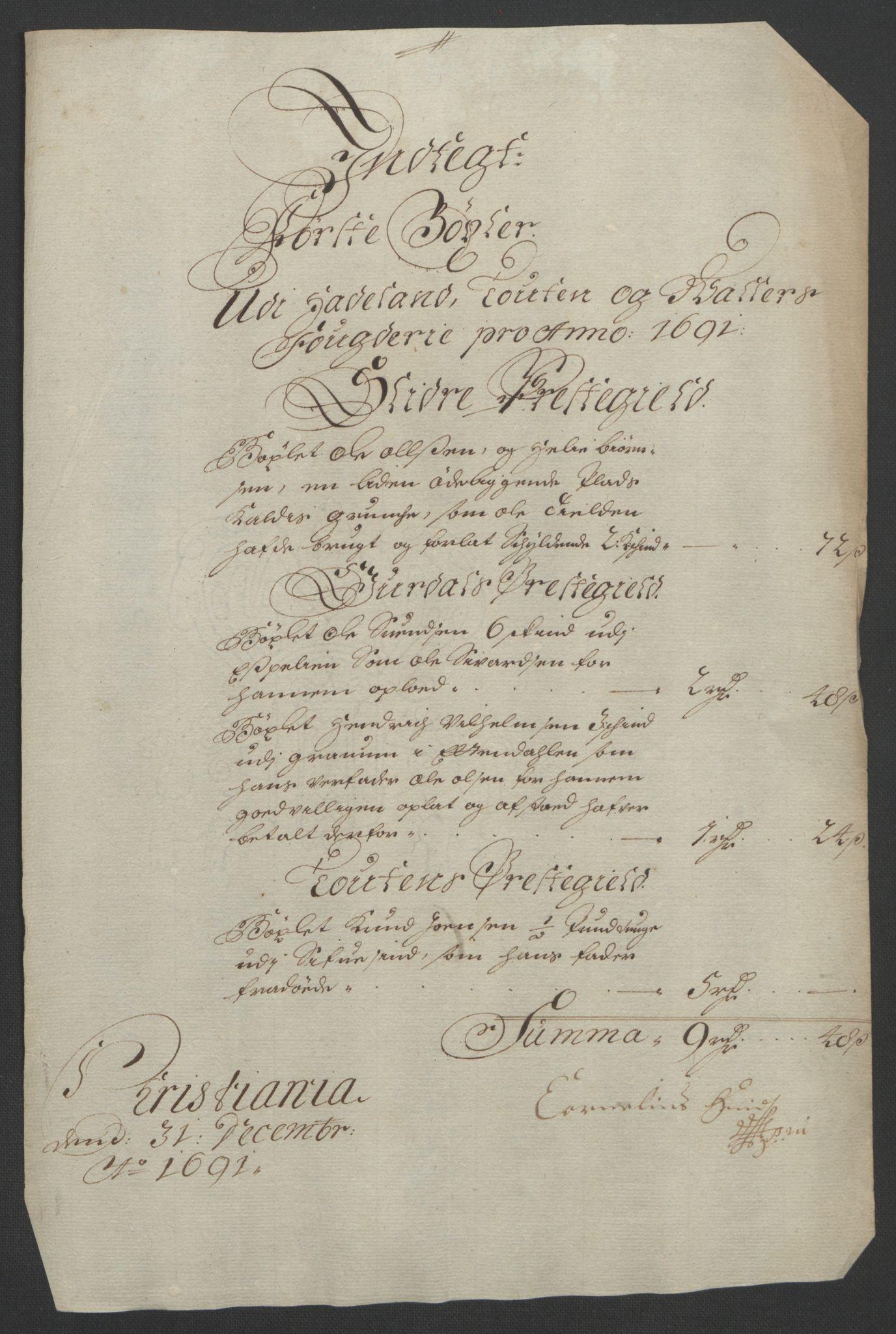 RA, Rentekammeret inntil 1814, Reviderte regnskaper, Fogderegnskap, R18/L1290: Fogderegnskap Hadeland, Toten og Valdres, 1691, s. 64