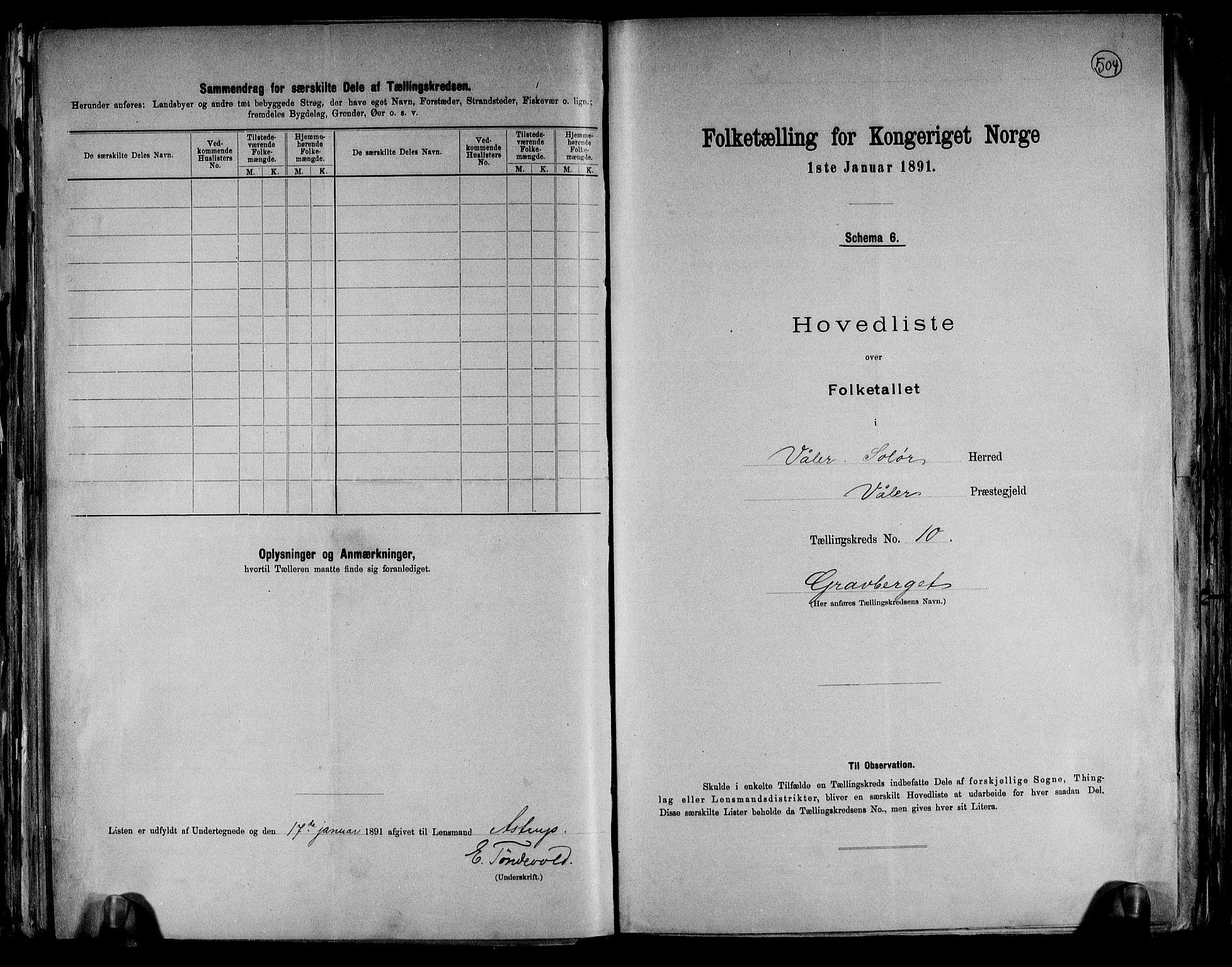 RA, Folketelling 1891 for 0426 Våler herred, 1891, s. 22