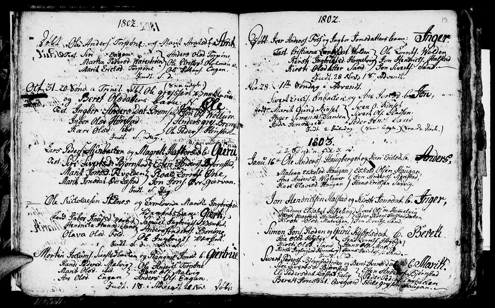 SAT, Ministerialprotokoller, klokkerbøker og fødselsregistre - Sør-Trøndelag, 616/L0419: Klokkerbok nr. 616C02, 1797-1816, s. 13