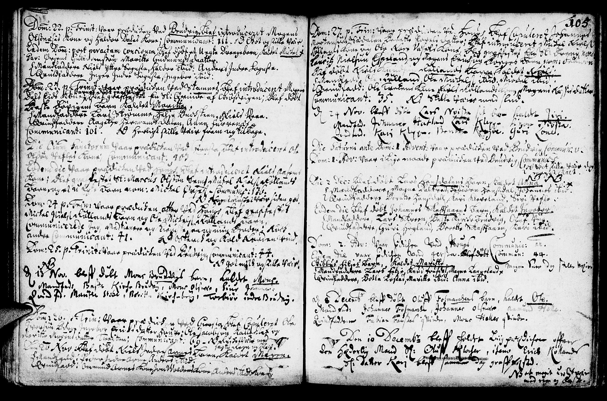 SAB, Haus Sokneprestembete, H/Haa: Ministerialbok nr. A 1, 1691-1712, s. 105