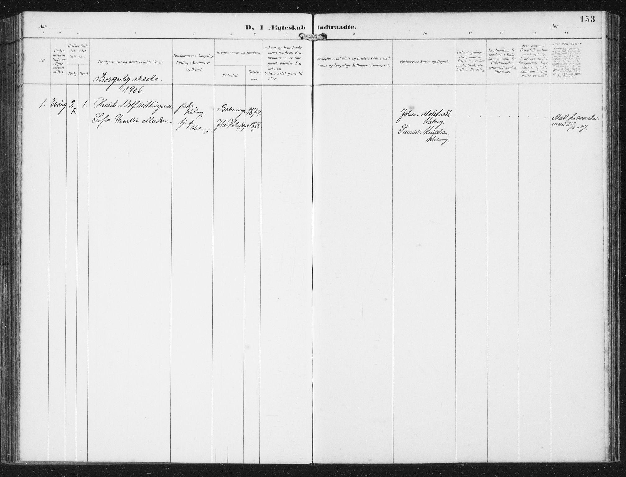 SAB, Bremanger Sokneprestembete, H/Haa: Ministerialbok nr. B  2, 1896-1908, s. 153