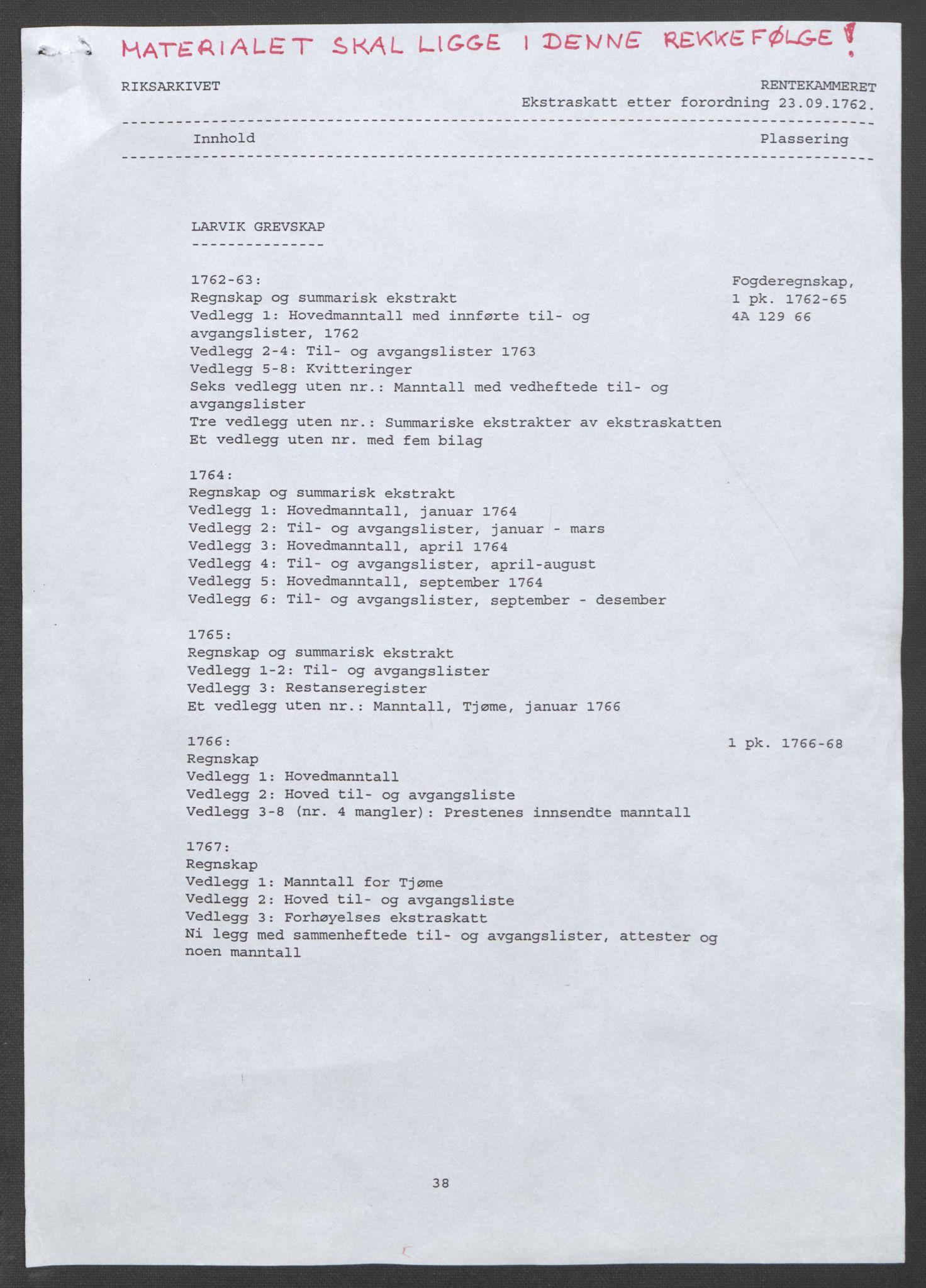 RA, Rentekammeret inntil 1814, Reviderte regnskaper, Fogderegnskap, R33/L2033: Ekstraskatten Larvik grevskap, 1762-1764, s. 2