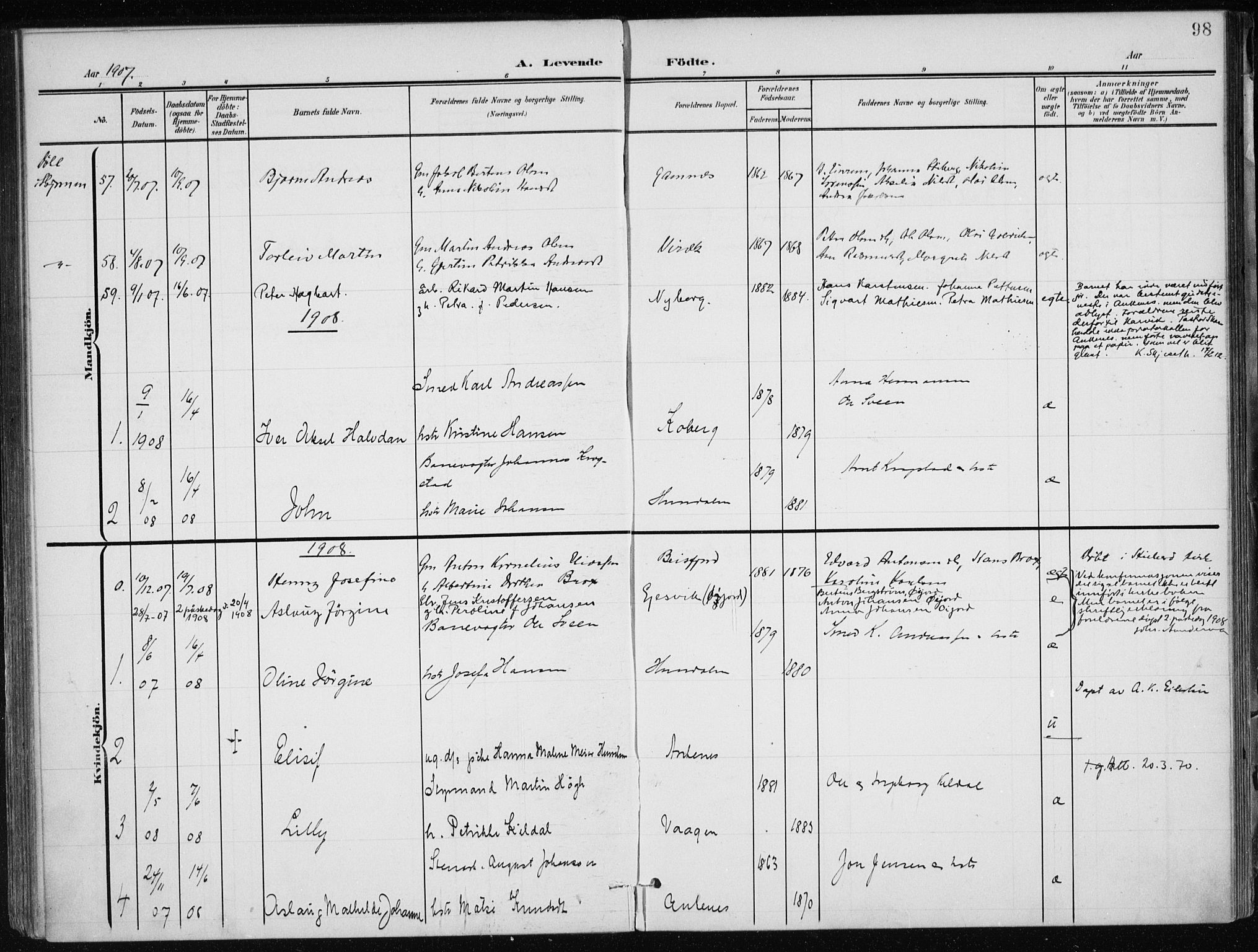 SAT, Ministerialprotokoller, klokkerbøker og fødselsregistre - Nordland, 866/L0941: Ministerialbok nr. 866A04, 1901-1917, s. 98