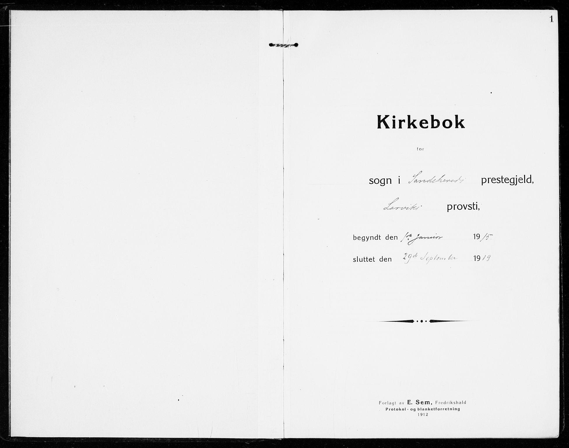 SAKO, Sandar kirkebøker, F/Fa/L0020: Ministerialbok nr. 20, 1915-1919, s. 1