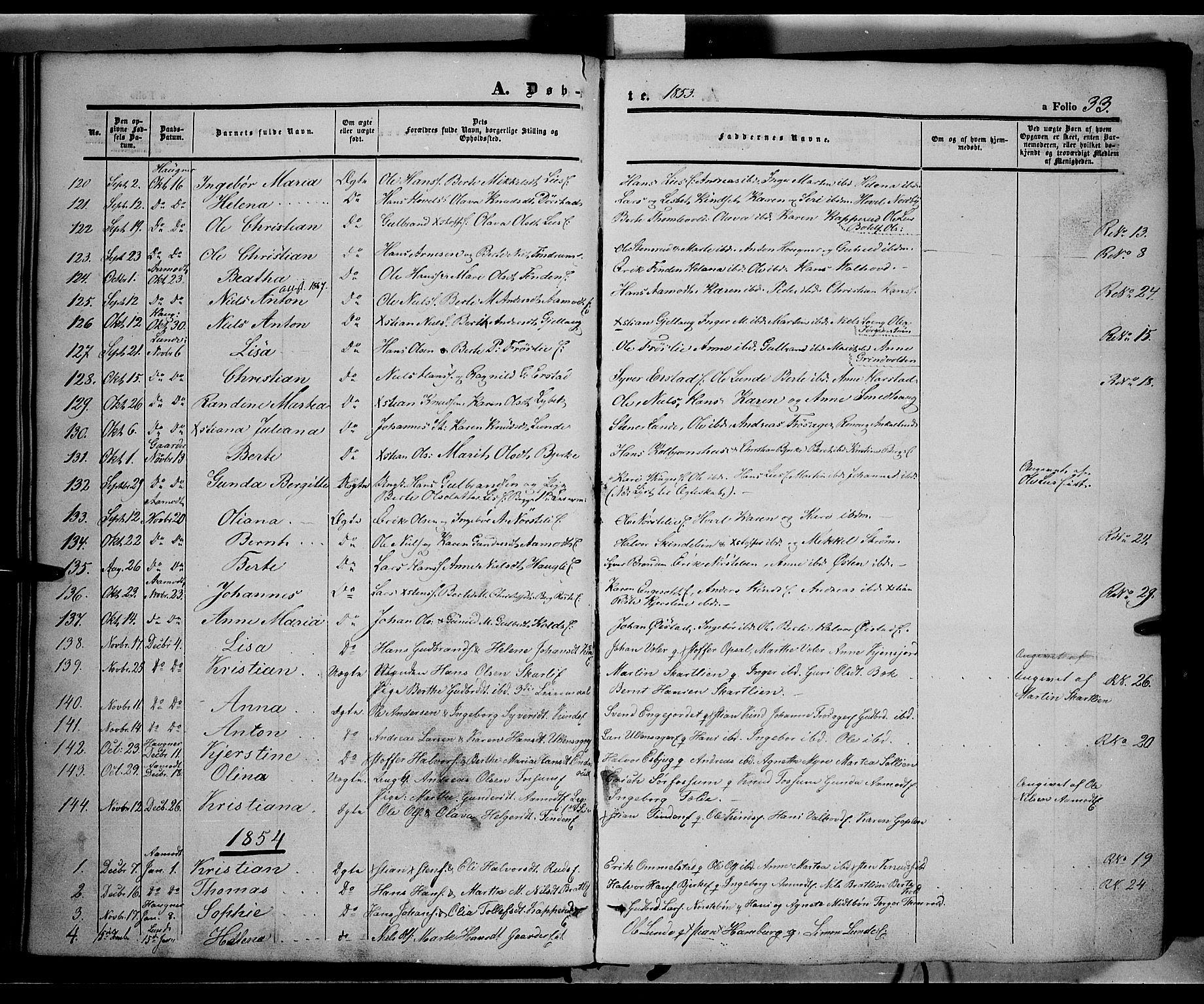 SAH, Land prestekontor, Ministerialbok nr. 10, 1847-1859, s. 33