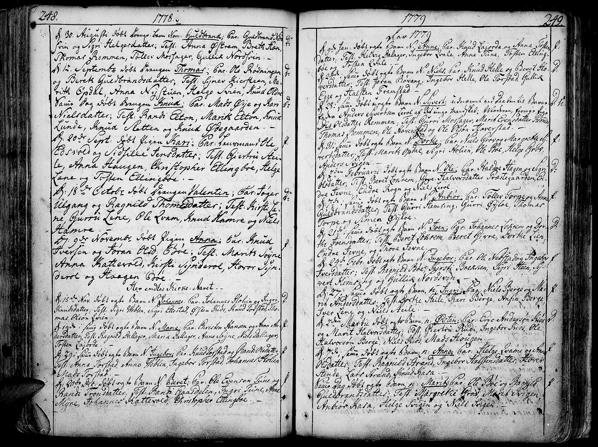 SAH, Vang prestekontor, Valdres, Ministerialbok nr. 1, 1730-1796, s. 248-249