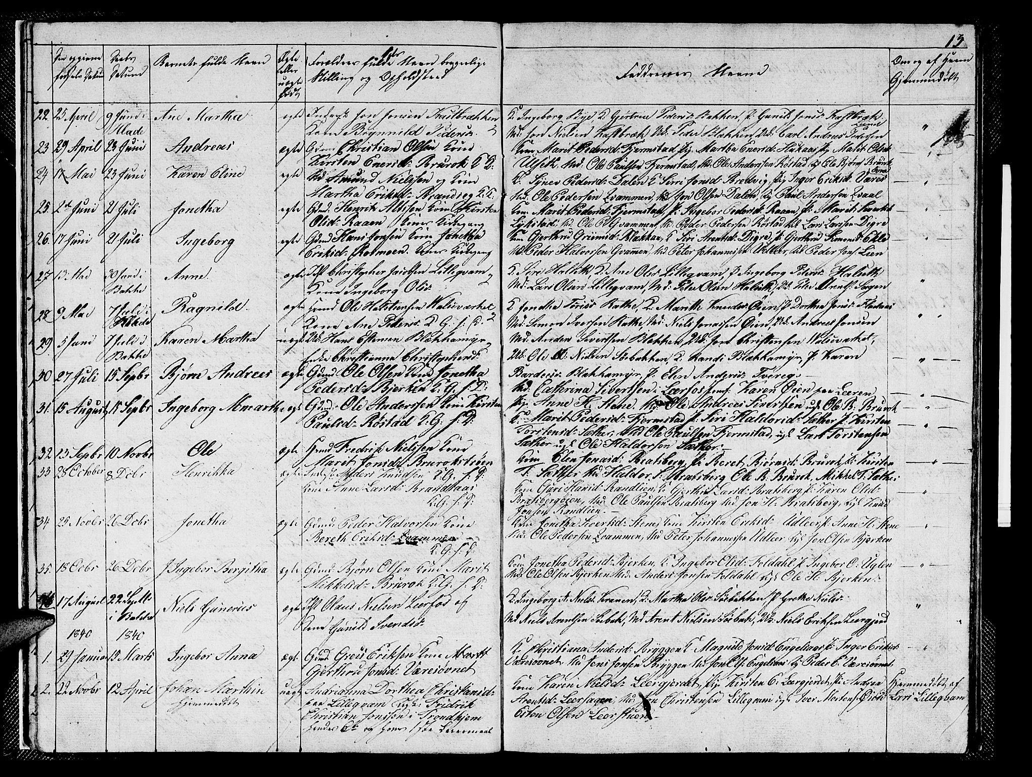 SAT, Ministerialprotokoller, klokkerbøker og fødselsregistre - Sør-Trøndelag, 608/L0338: Klokkerbok nr. 608C04, 1831-1843, s. 13