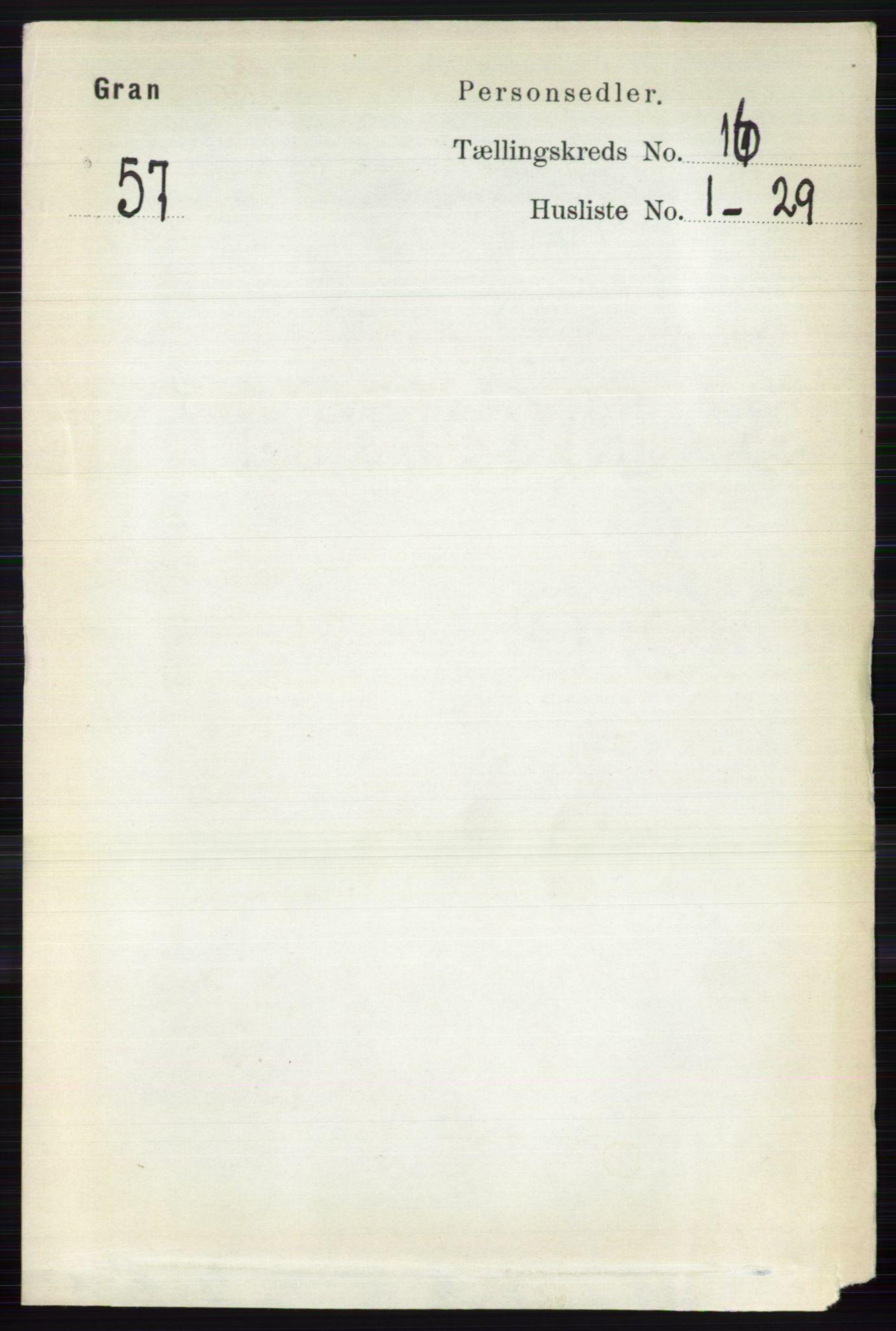 RA, Folketelling 1891 for 0534 Gran herred, 1891, s. 8103