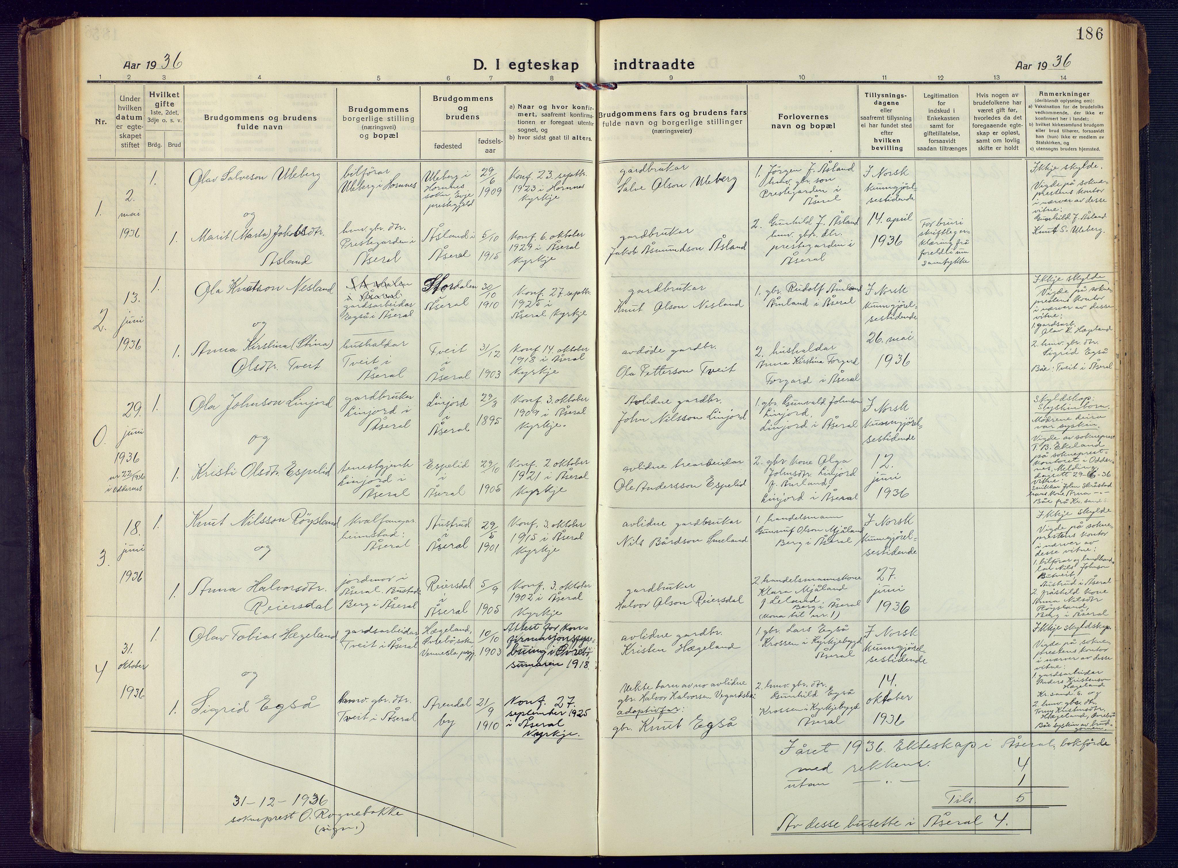 SAK, Åseral sokneprestkontor, F/Fb/L0004: Klokkerbok nr. B 4, 1920-1946, s. 186