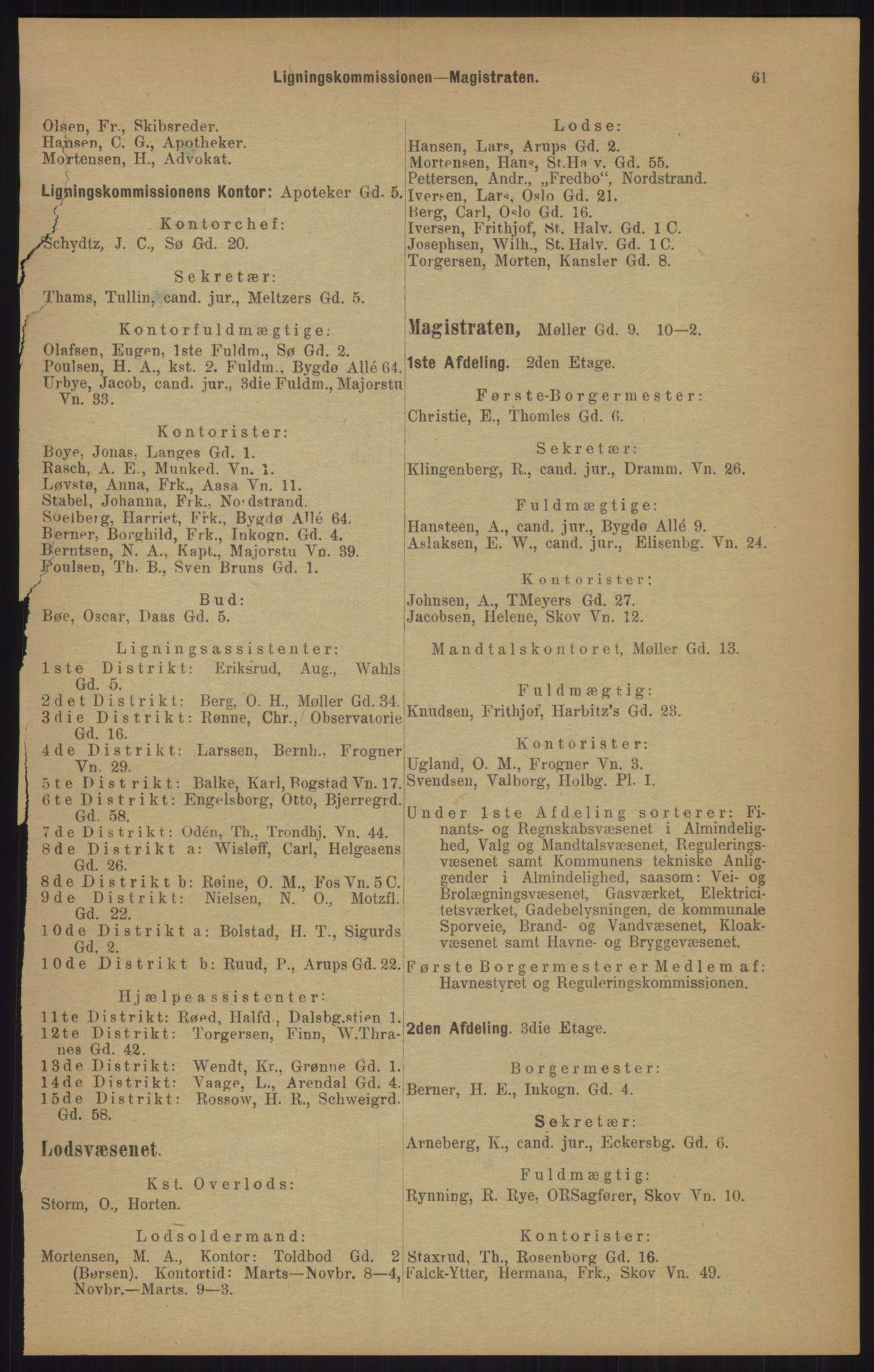 RA, Kristiania adressebok (publikasjon)*, 1905, s. 61