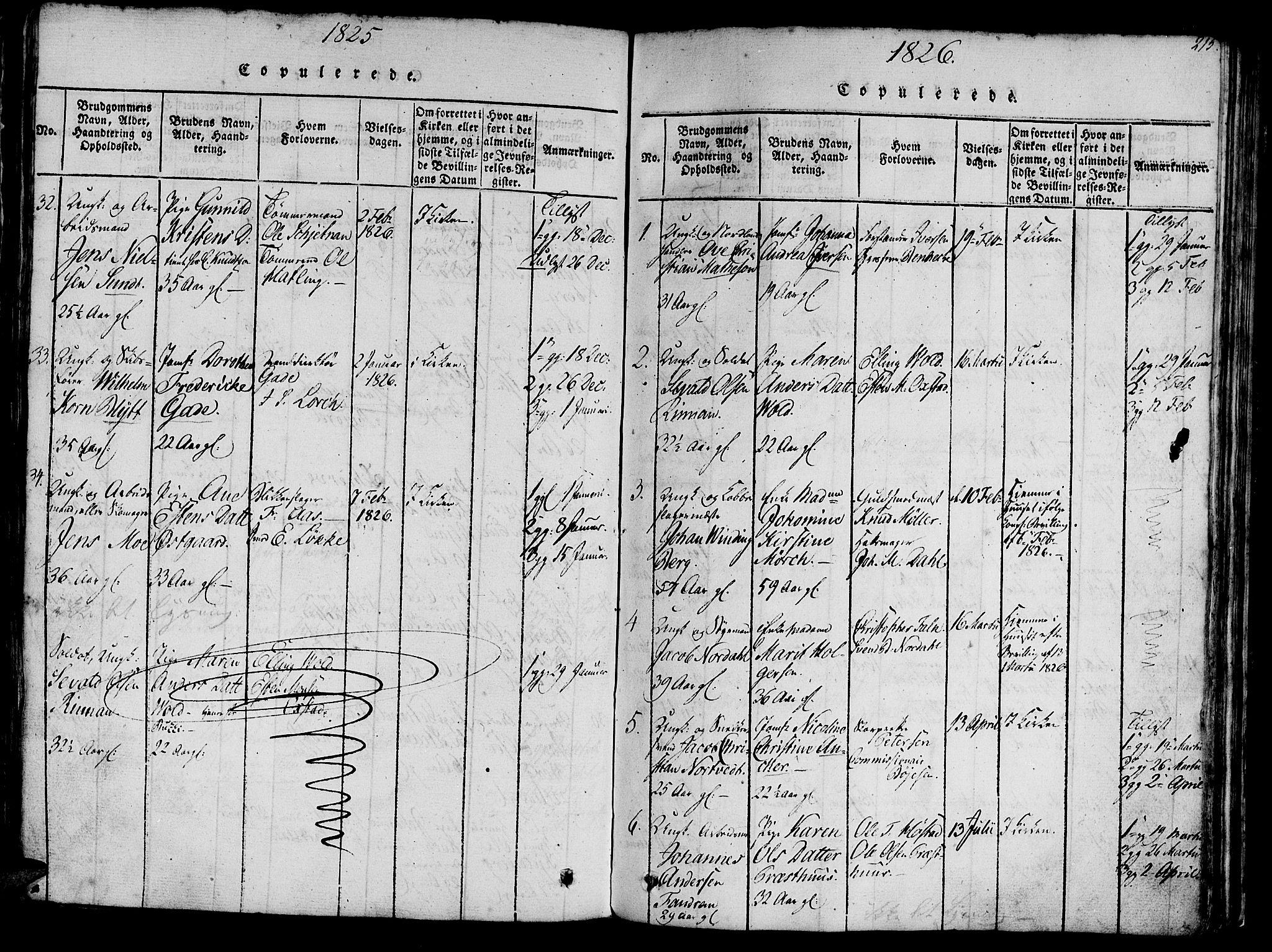 SAT, Ministerialprotokoller, klokkerbøker og fødselsregistre - Sør-Trøndelag, 602/L0135: Klokkerbok nr. 602C03, 1815-1832, s. 215