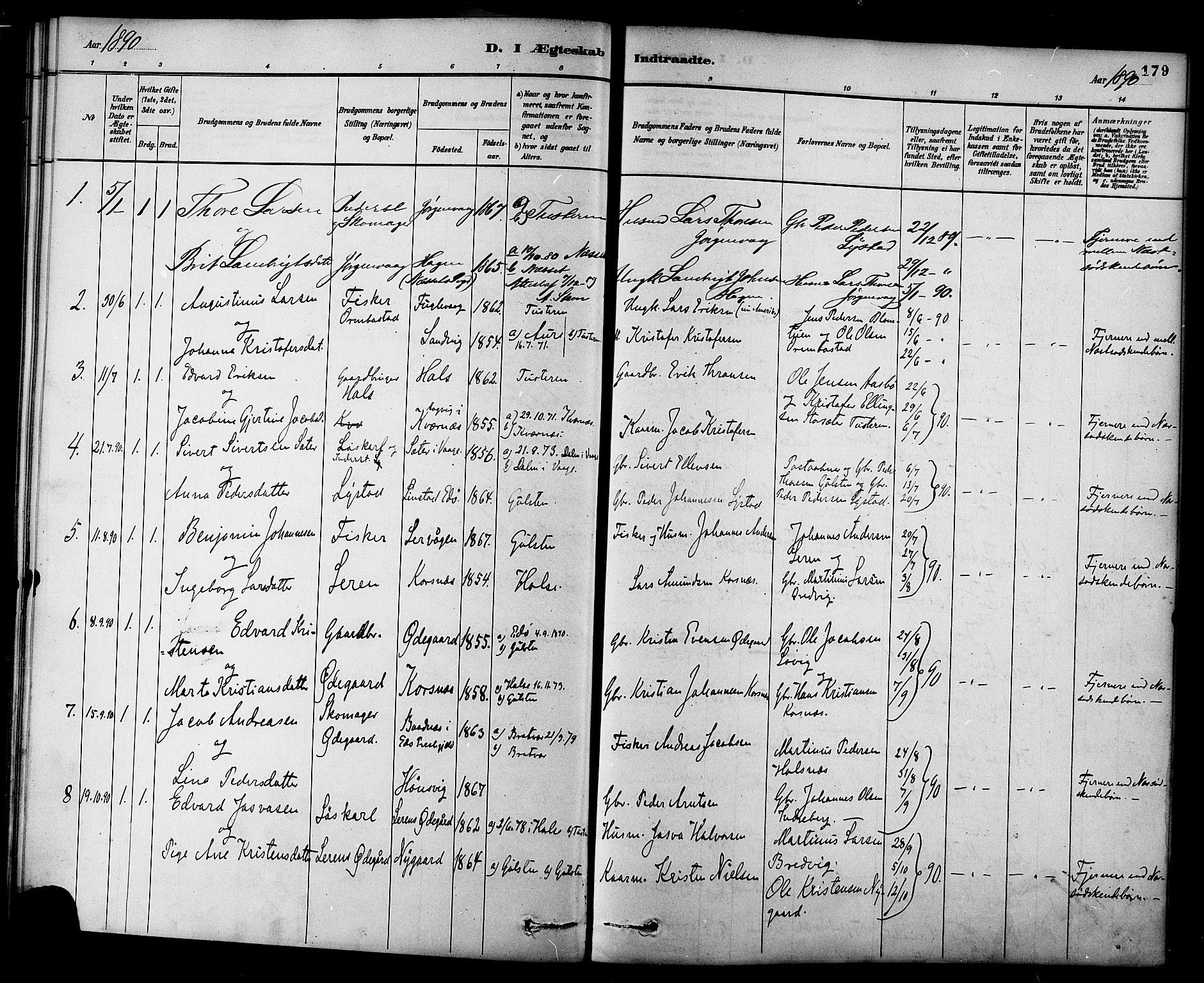 SAT, Ministerialprotokoller, klokkerbøker og fødselsregistre - Møre og Romsdal, 577/L0896: Ministerialbok nr. 577A03, 1880-1898, s. 179