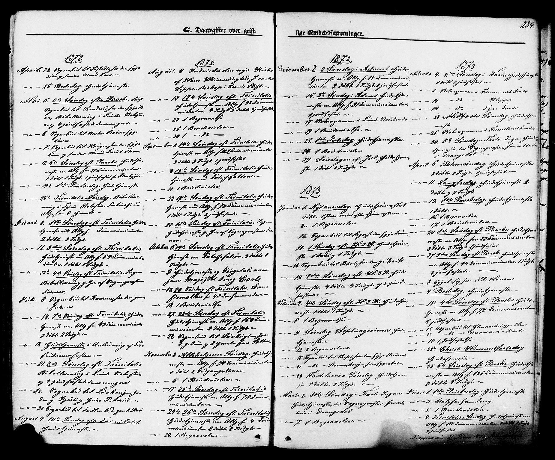 SAKO, Lunde kirkebøker, F/Fa/L0001: Ministerialbok nr. I 1, 1866-1883, s. 234