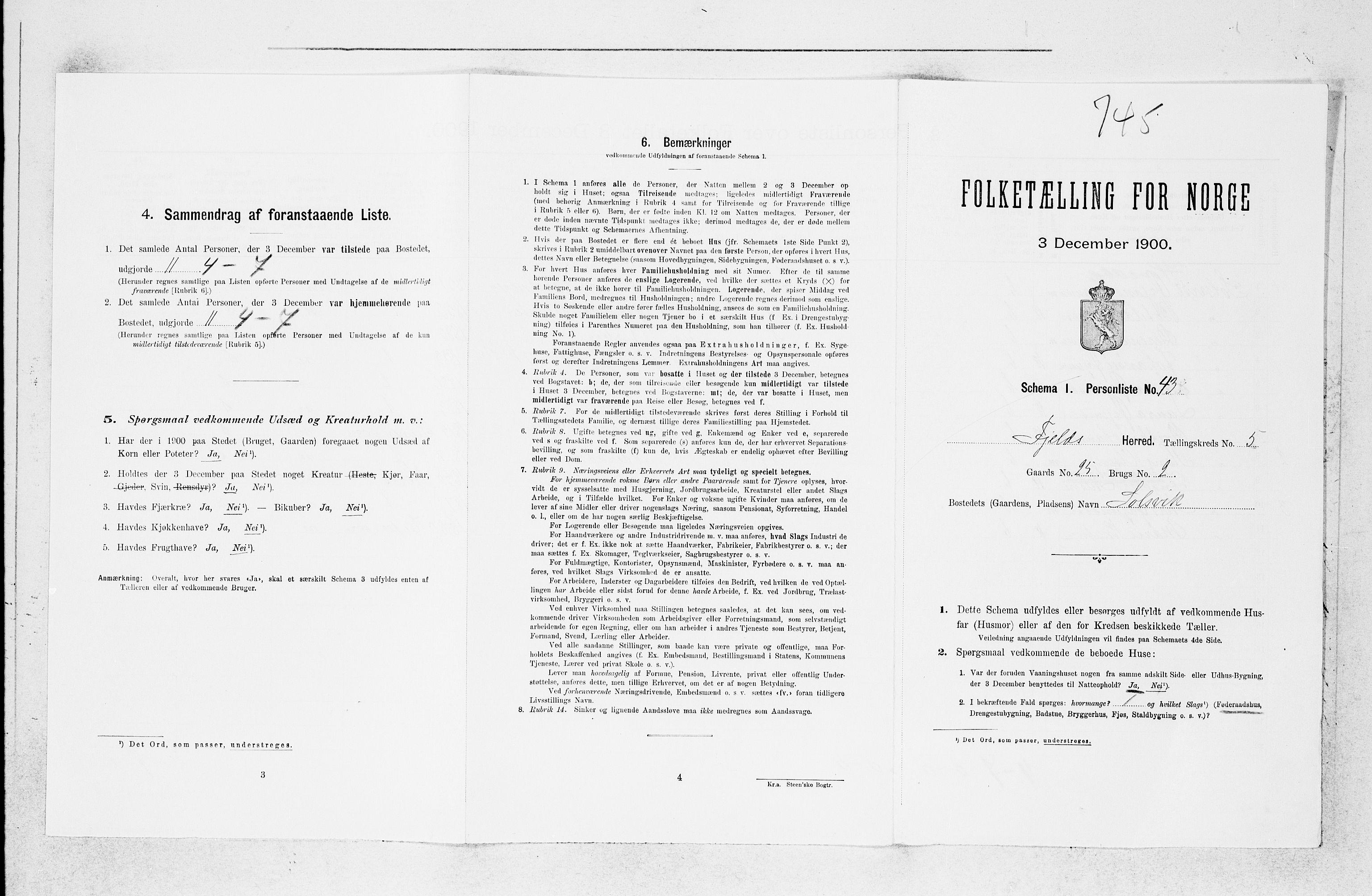 SAB, Folketelling 1900 for 1246 Fjell herred, 1900, s. 623