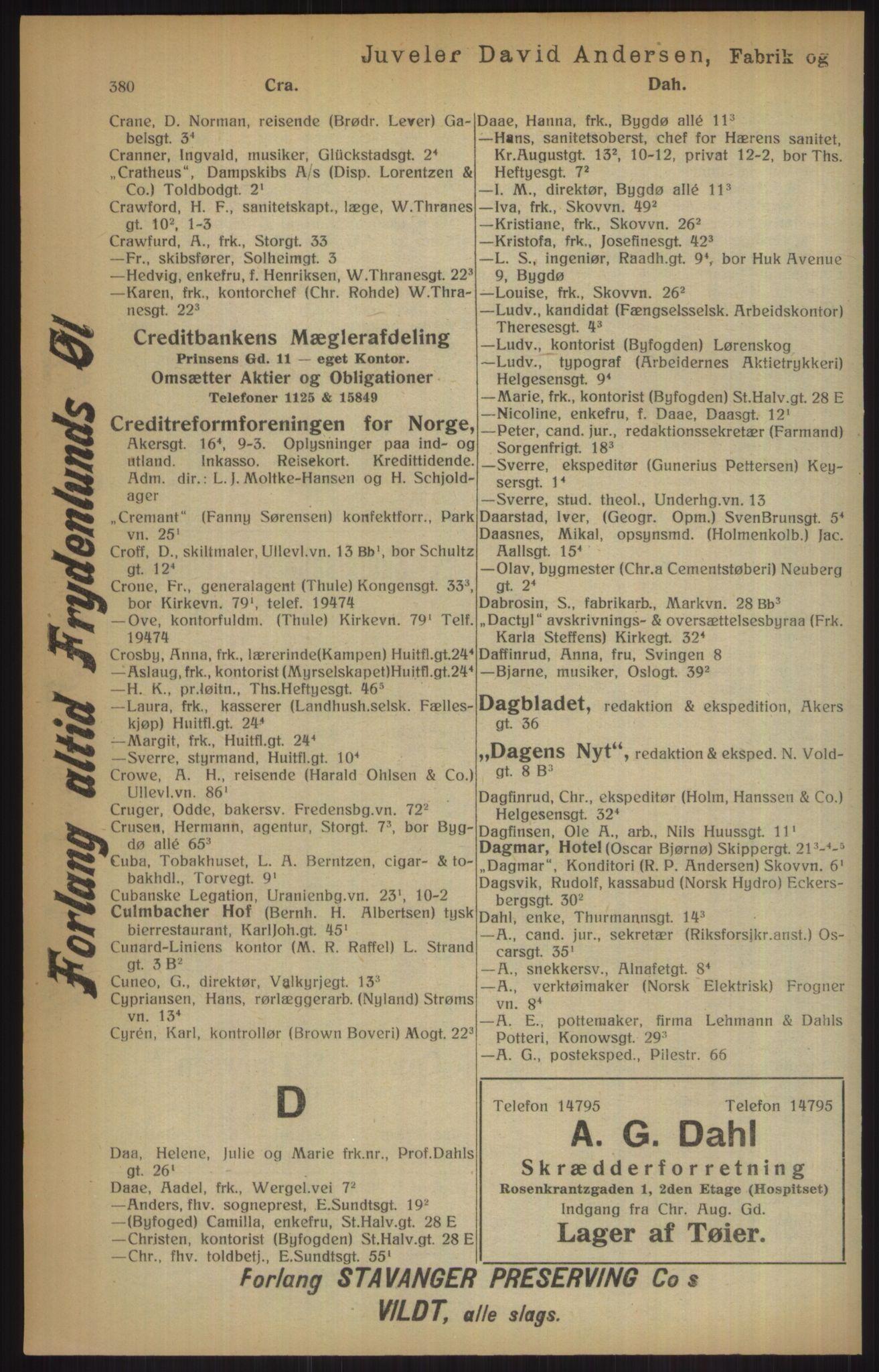 RA, Kristiania adressebok (publikasjon)*, 1915, s. 380
