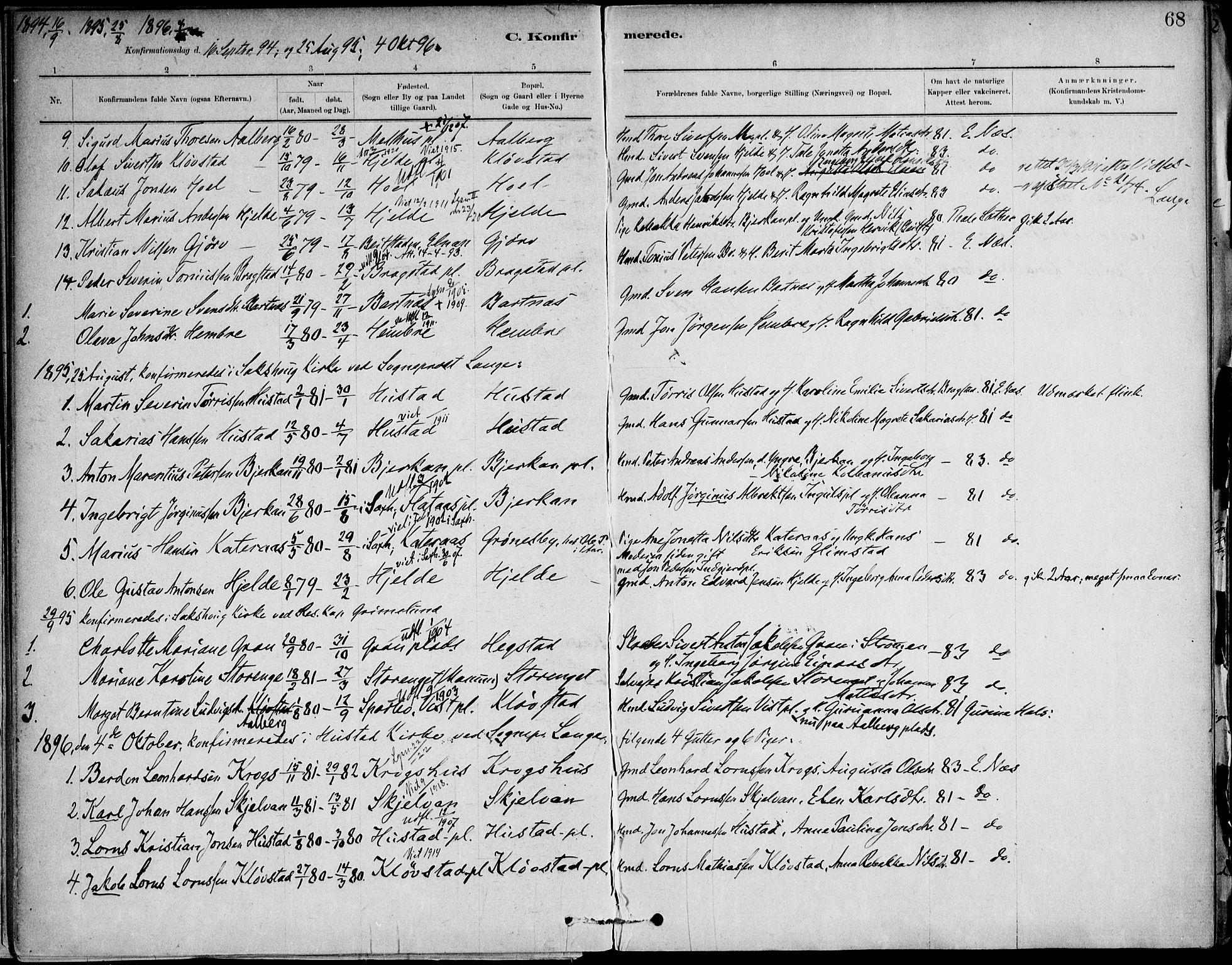 SAT, Ministerialprotokoller, klokkerbøker og fødselsregistre - Nord-Trøndelag, 732/L0316: Ministerialbok nr. 732A01, 1879-1921, s. 68