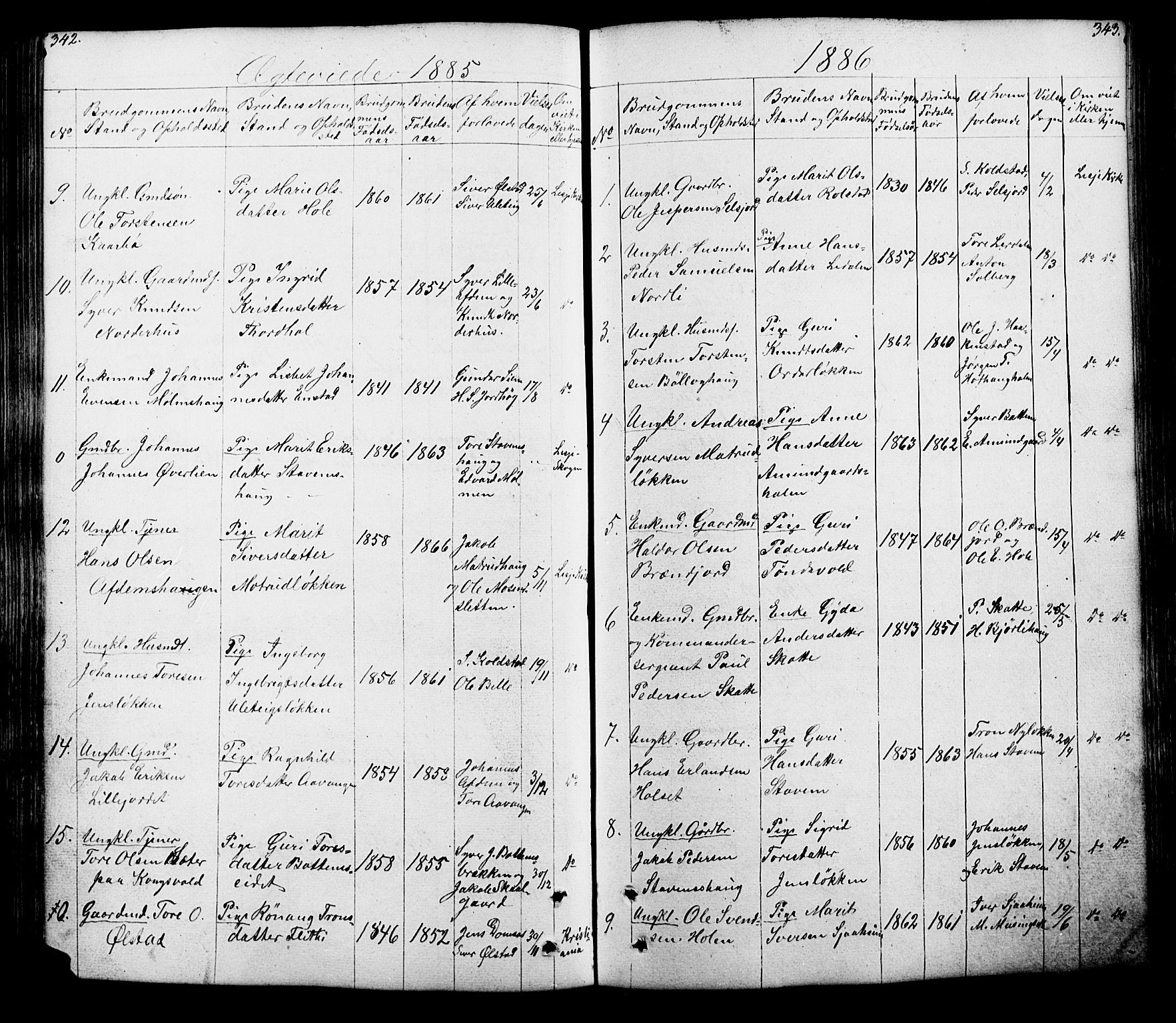 SAH, Lesja prestekontor, Klokkerbok nr. 5, 1850-1894, s. 342-343