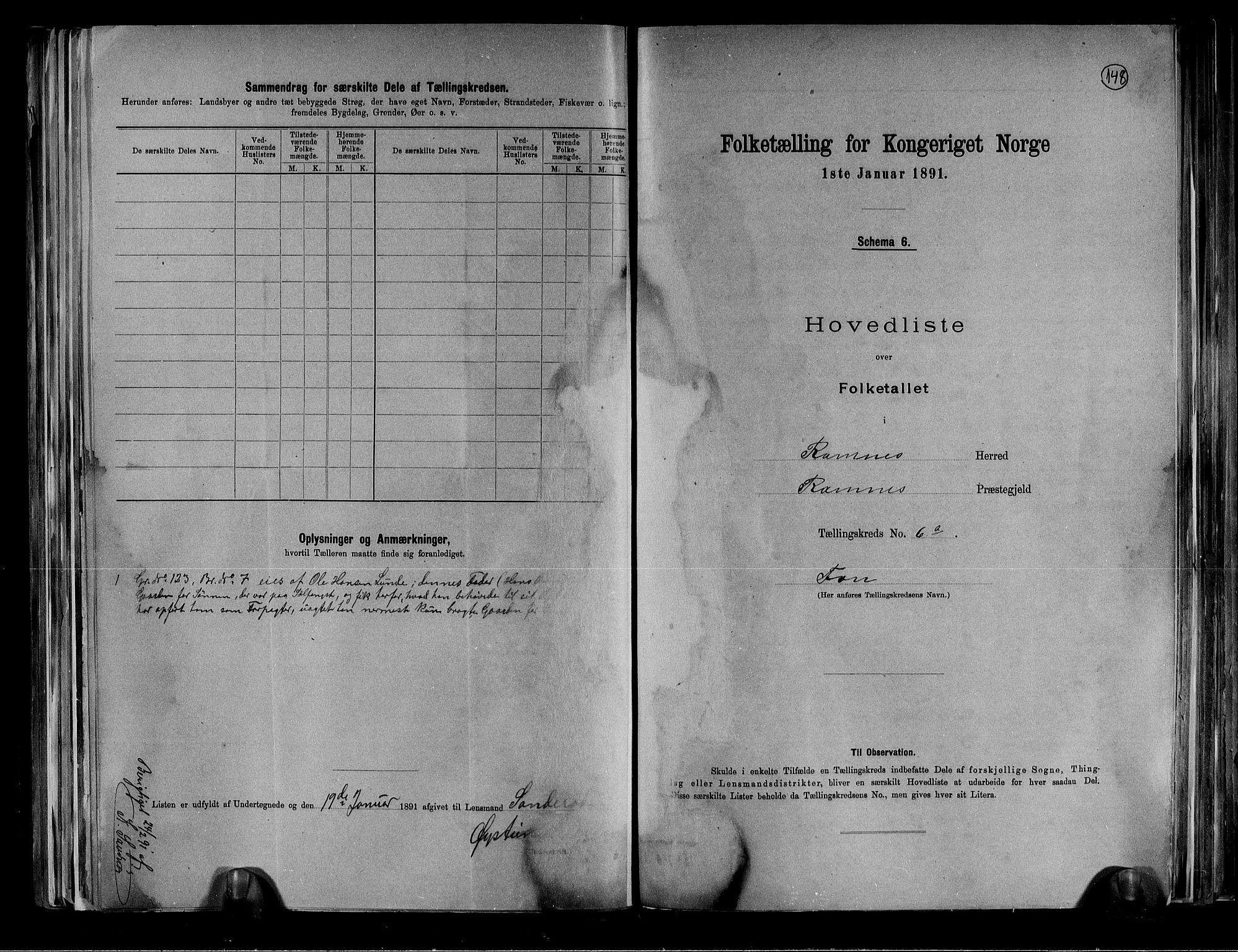 RA, Folketelling 1891 for 0718 Ramnes herred, 1891, s. 22