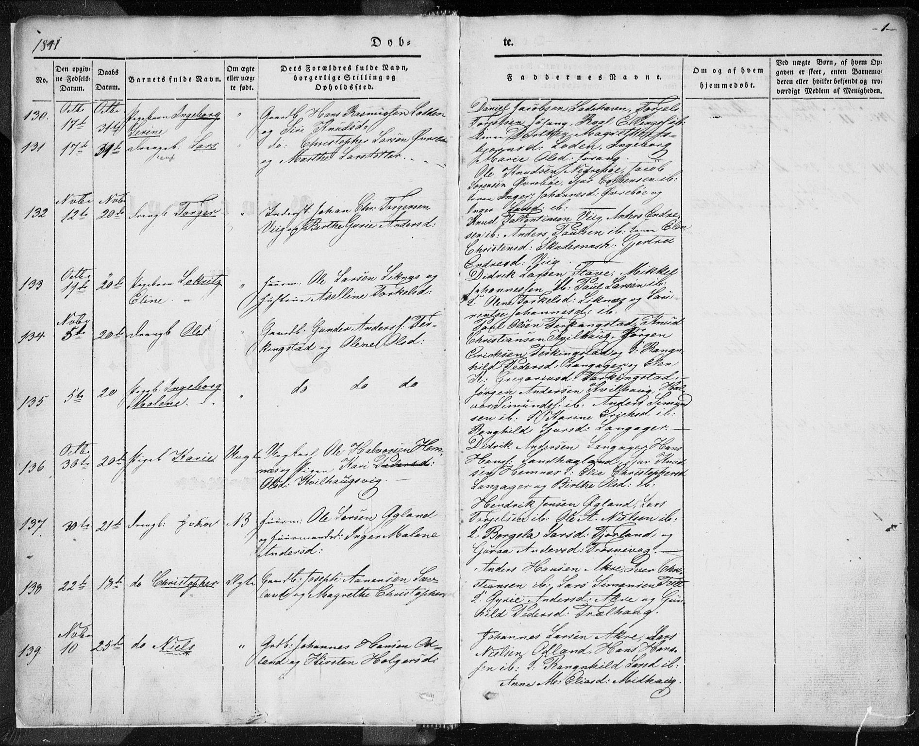 SAST, Skudenes sokneprestkontor, H/Ha/Haa/L0002: Ministerialbok nr. A 2.1, 1841-1846, s. 1