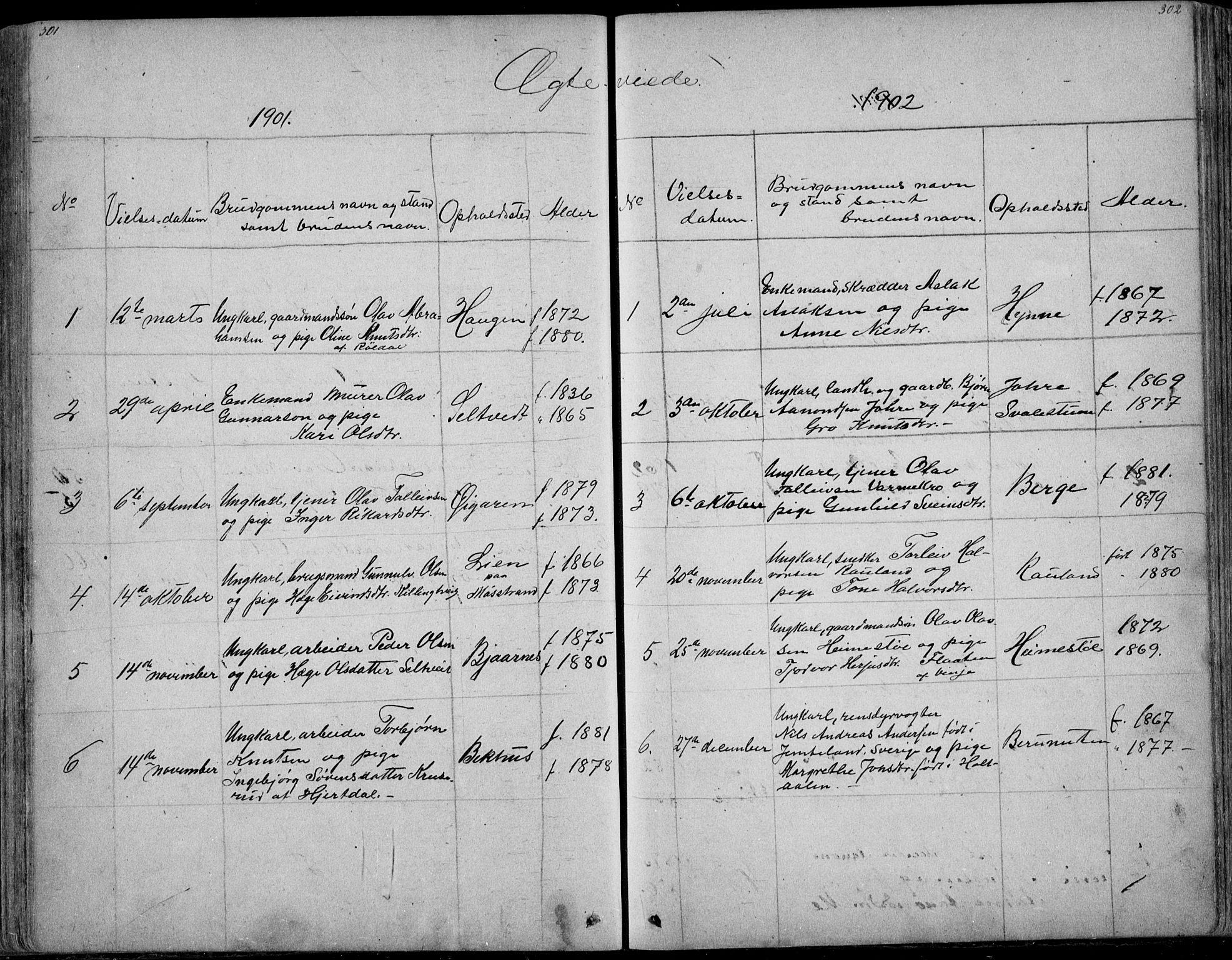 SAKO, Rauland kirkebøker, G/Ga/L0002: Klokkerbok nr. I 2, 1849-1935, s. 301-302