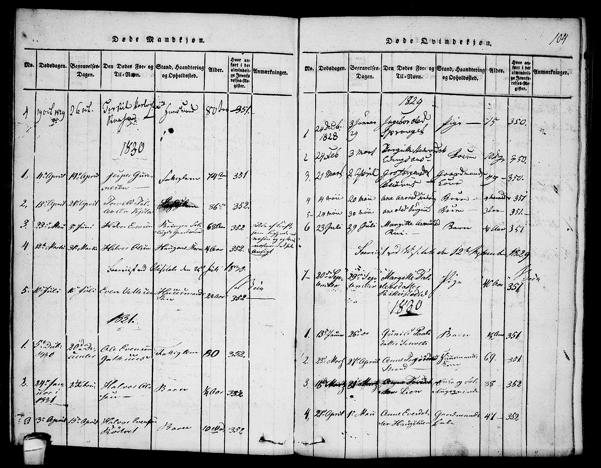 SAKO, Seljord kirkebøker, F/Fb/L0001: Ministerialbok nr. II 1, 1815-1831, s. 104