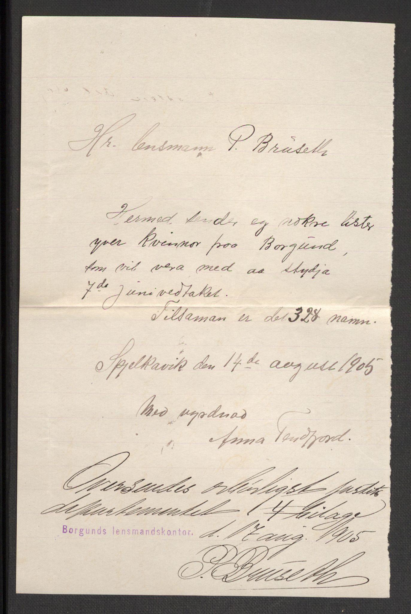 RA, Justisdepartementet, 2. sivilkontor C, F/L0125B: Folkeavstemmingen august 1905, 1905, s. 232