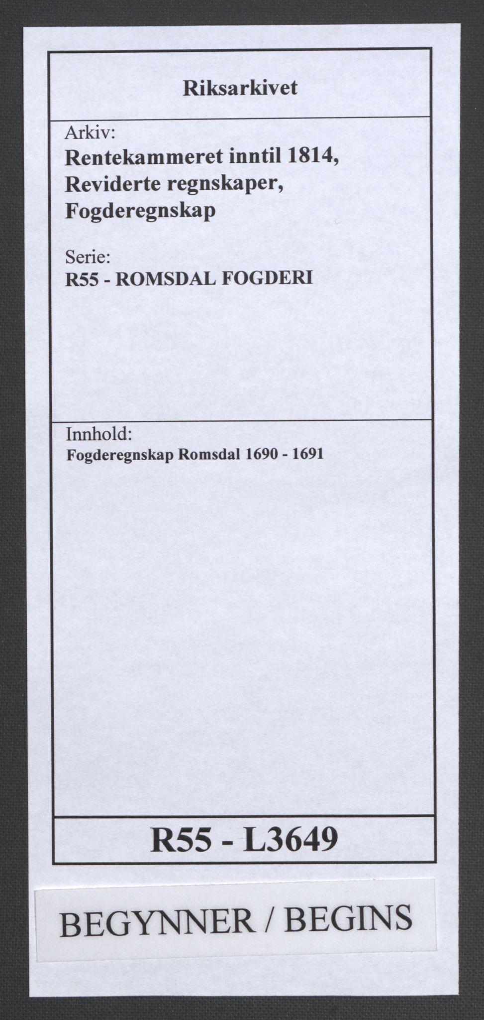 RA, Rentekammeret inntil 1814, Reviderte regnskaper, Fogderegnskap, R55/L3649: Fogderegnskap Romsdal, 1690-1691, s. 1