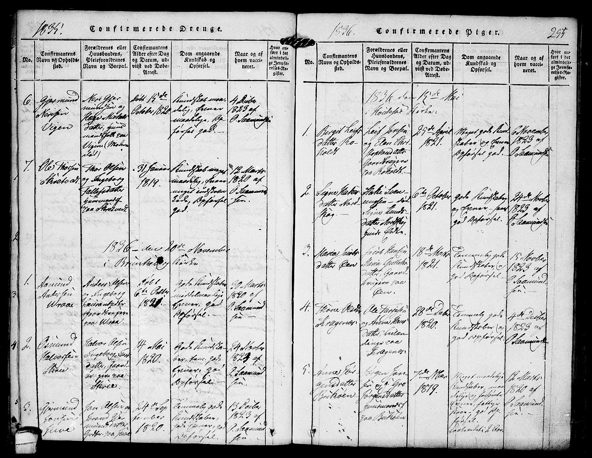 SAKO, Kviteseid kirkebøker, F/Fc/L0001: Ministerialbok nr. III 1, 1815-1836, s. 255
