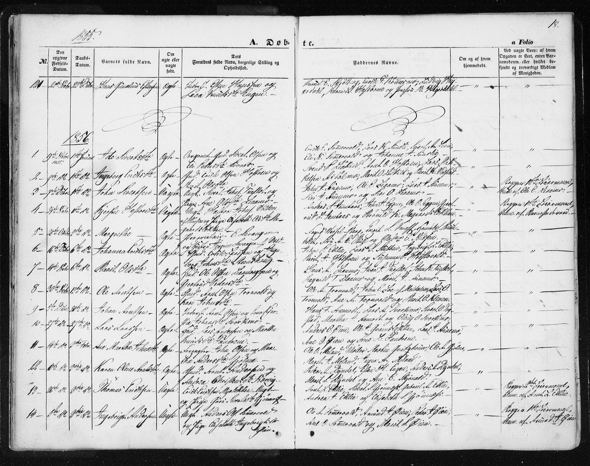 SAT, Ministerialprotokoller, klokkerbøker og fødselsregistre - Sør-Trøndelag, 668/L0806: Ministerialbok nr. 668A06, 1854-1869, s. 18