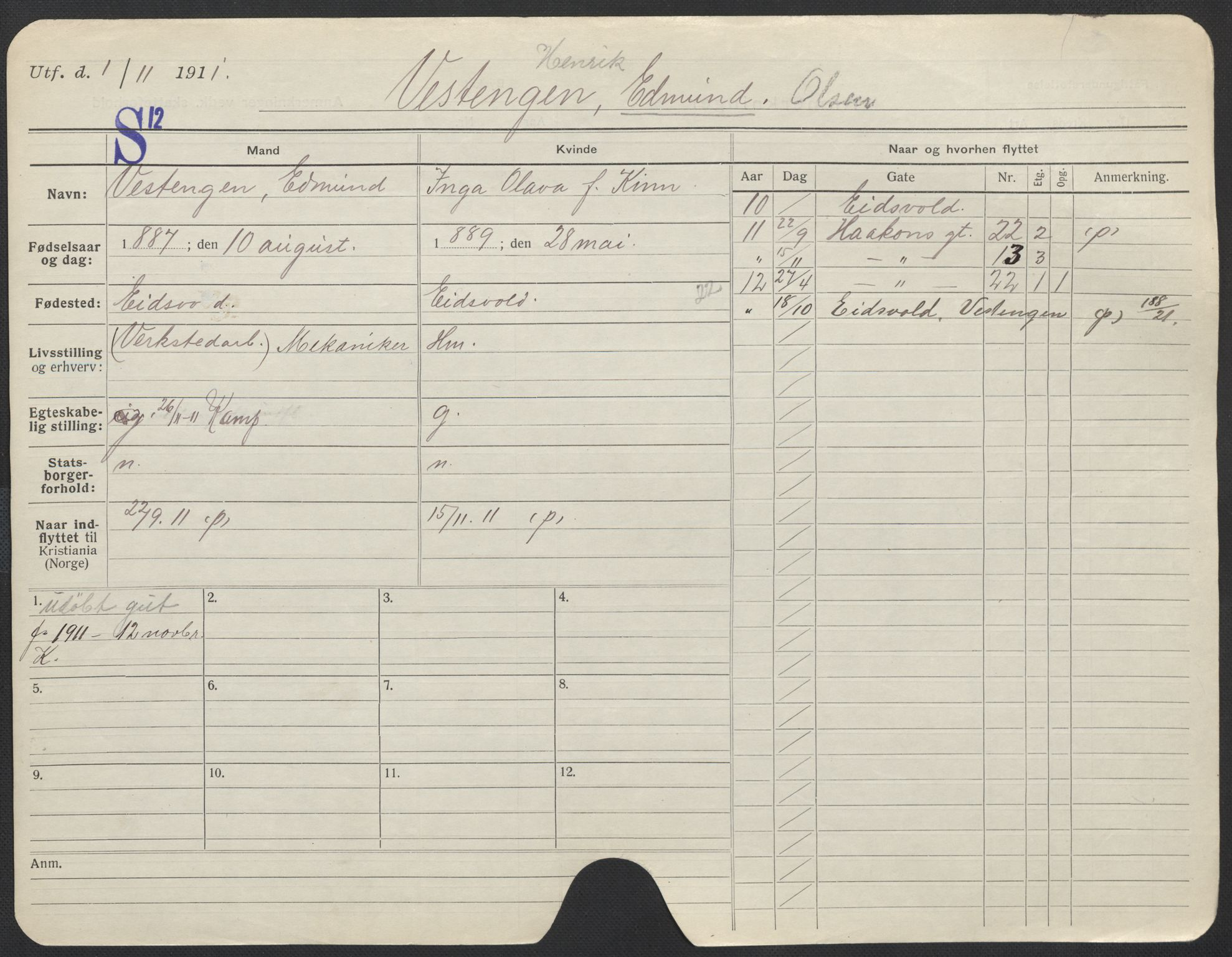 SAO, Oslo folkeregister, Registerkort, F/Fa/Fac/L0011: Menn, 1906-1914, s. 751a